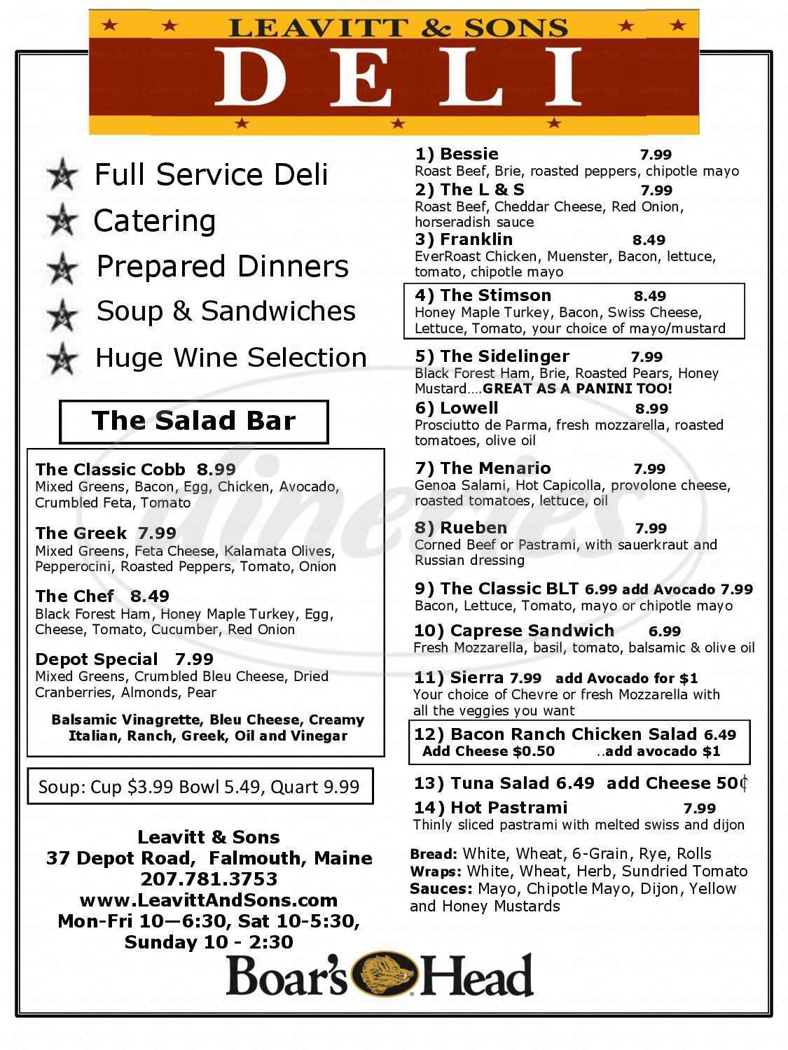 menu for Leavitt & Sons