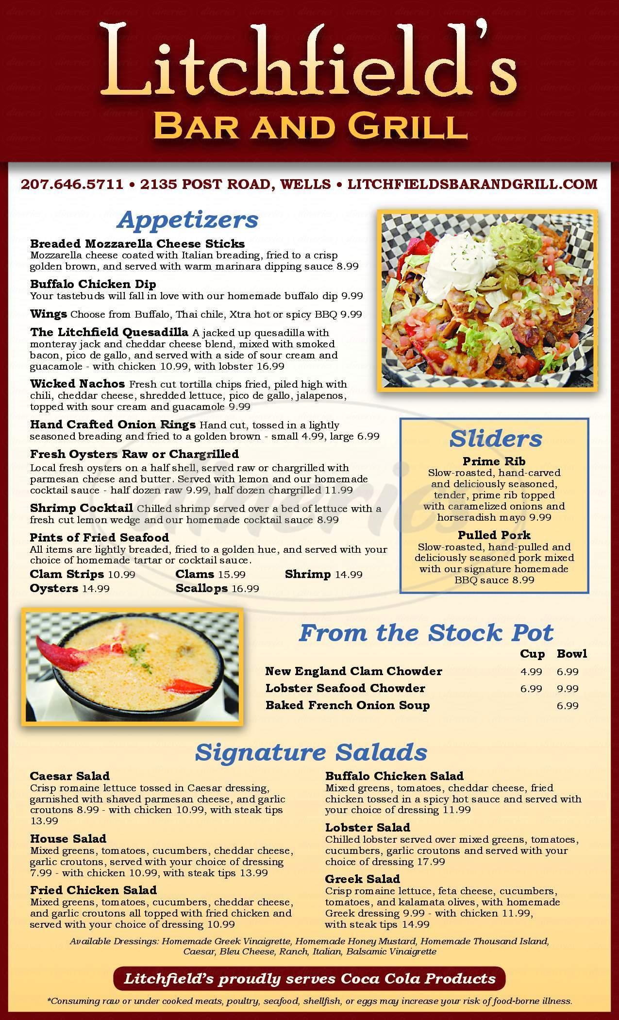 menu for Litchfield's Bar and Grill
