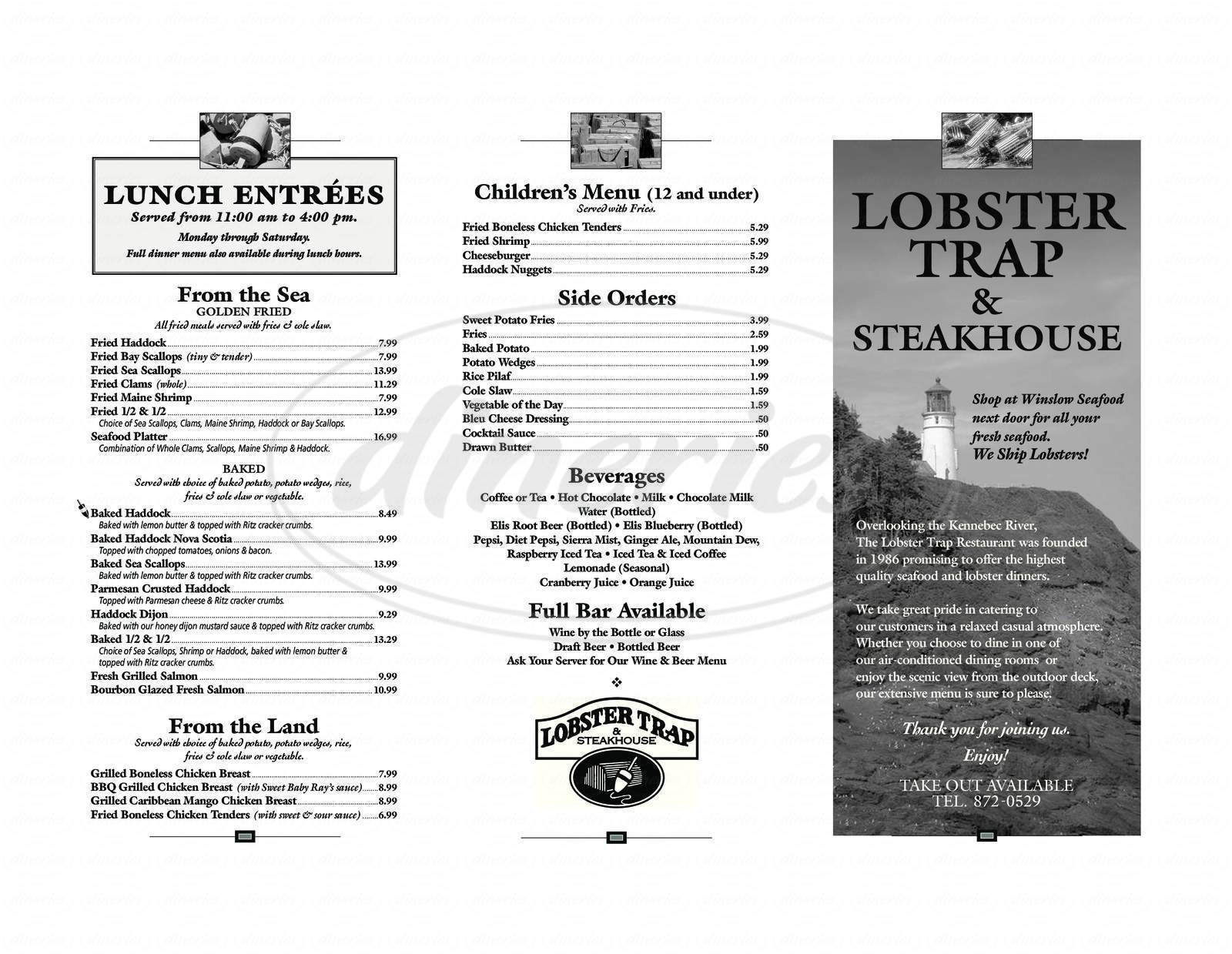 menu for Lobster Trap & Steakhouse