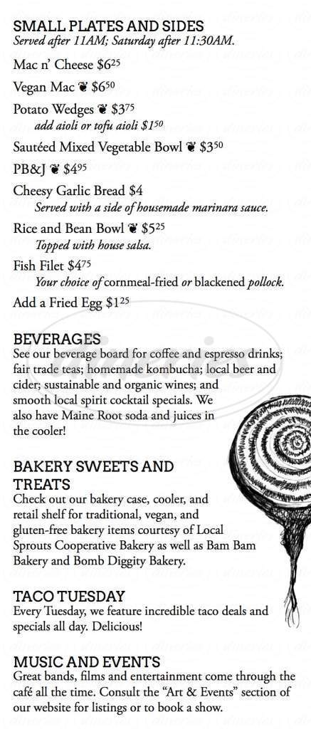 menu for Local Sprouts Cafe