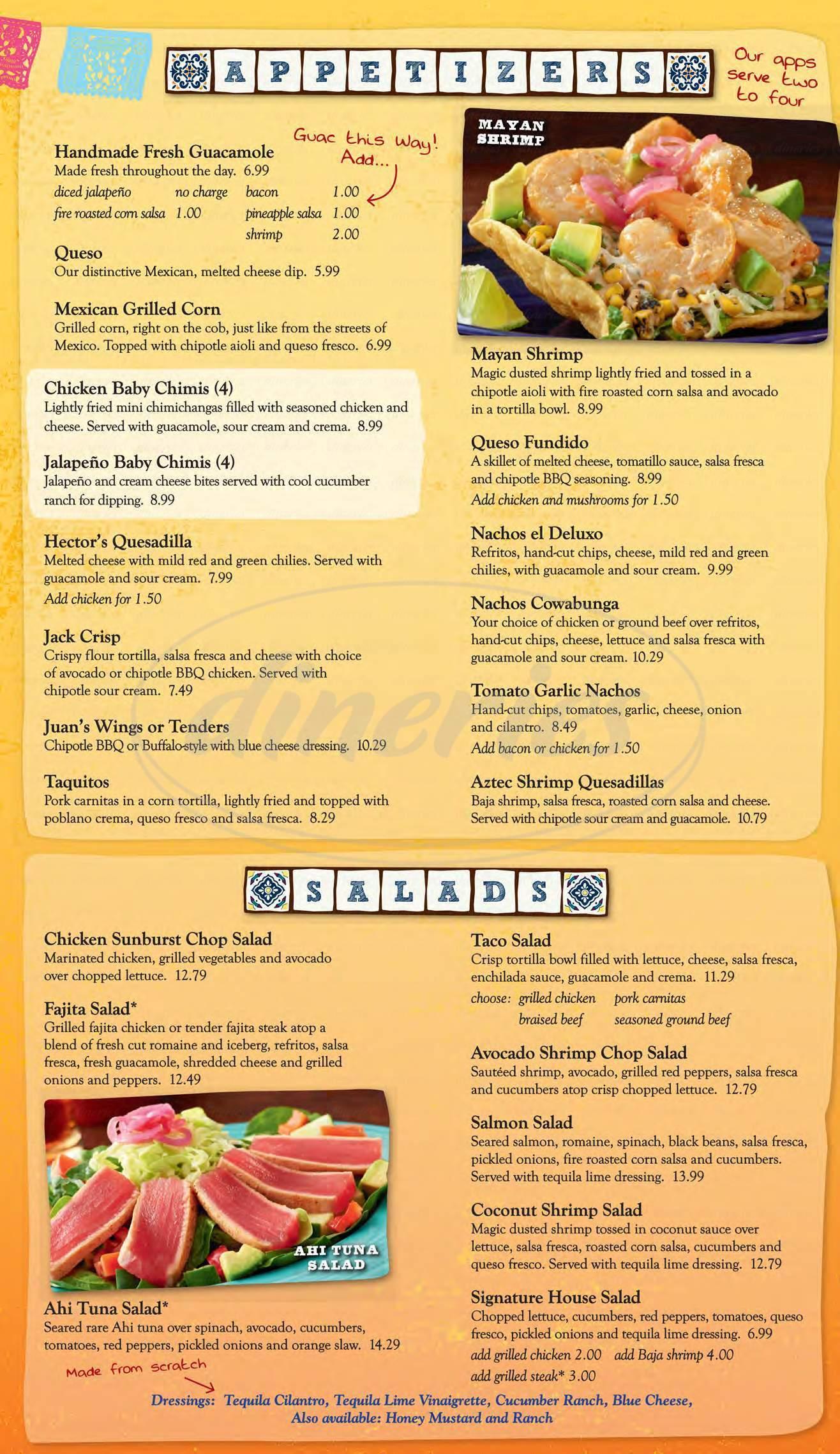 menu for Margaritas Mexican Restaurant