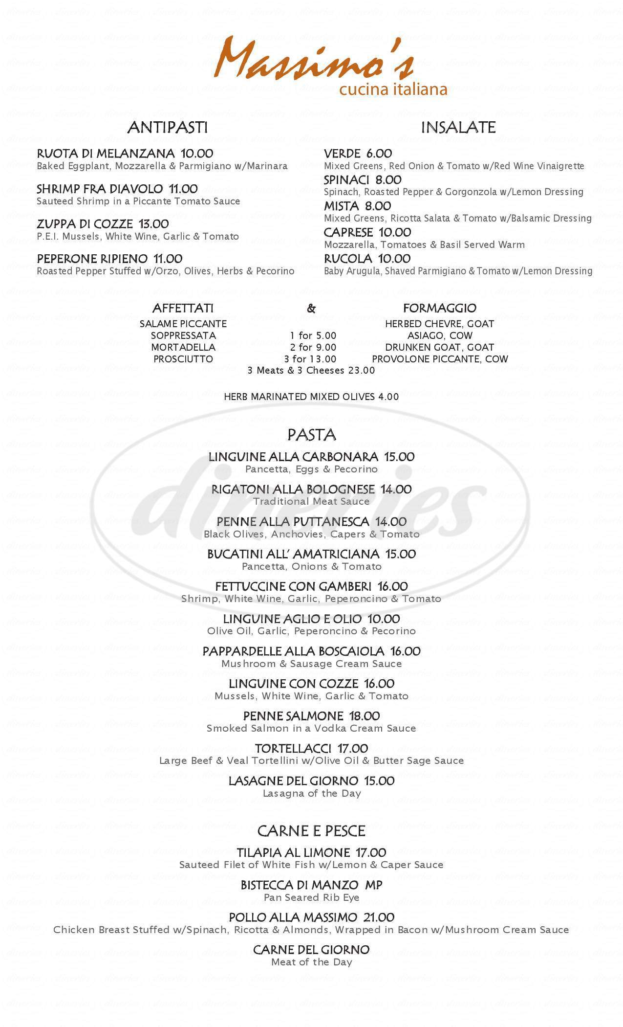 menu for Massimos Cucina Italiana
