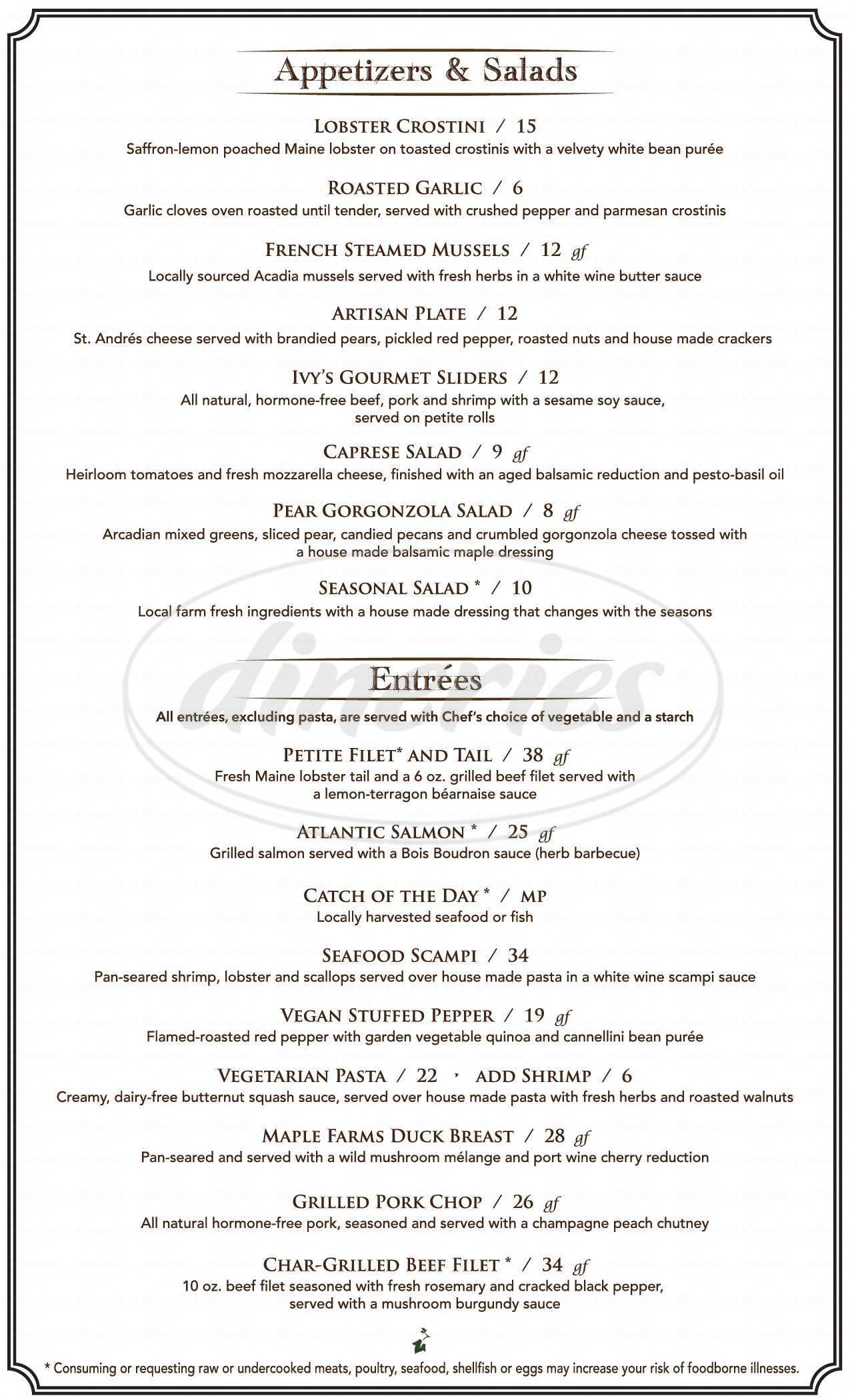 menu for Michelle's