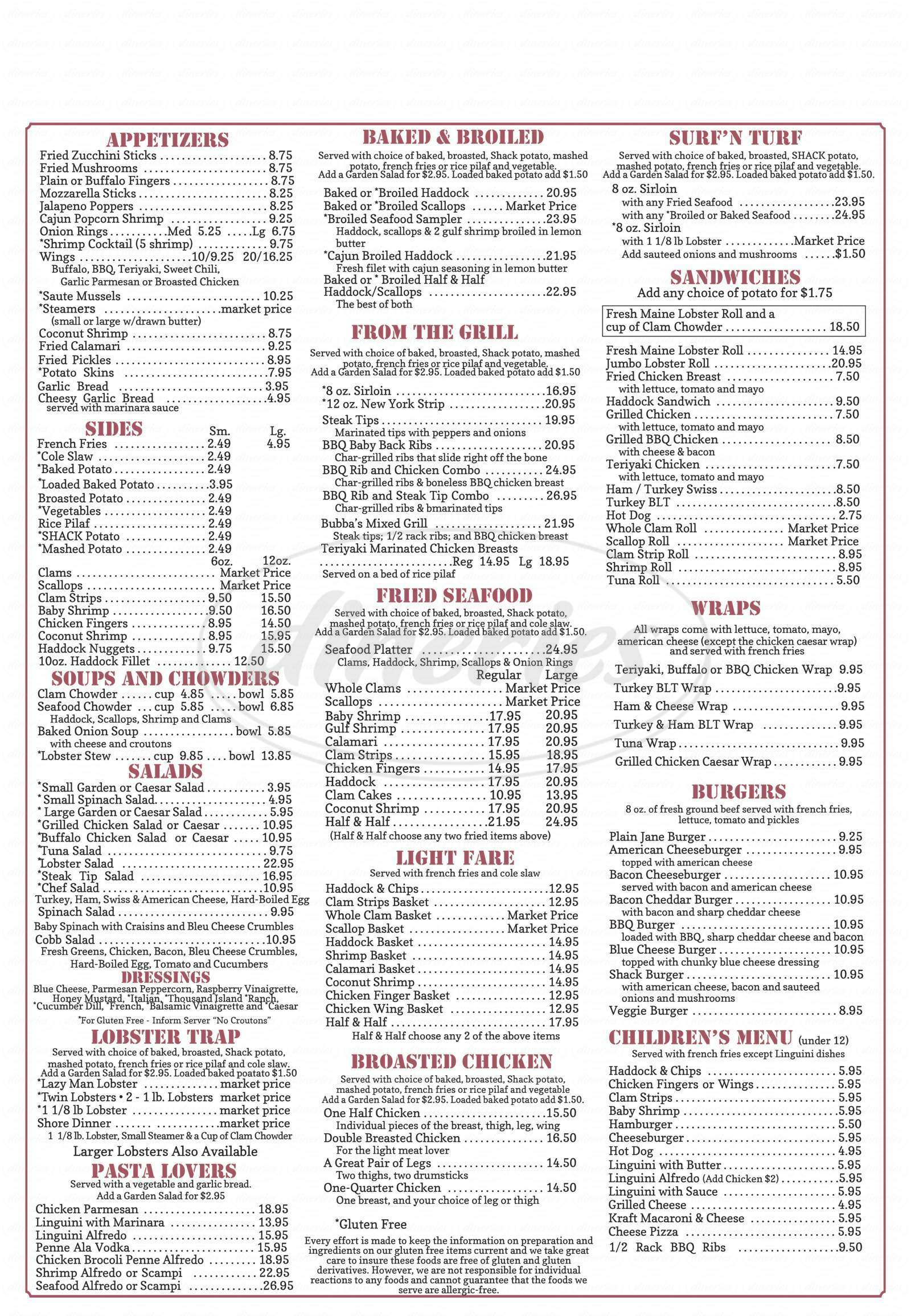menu for Mike's Clam Shack