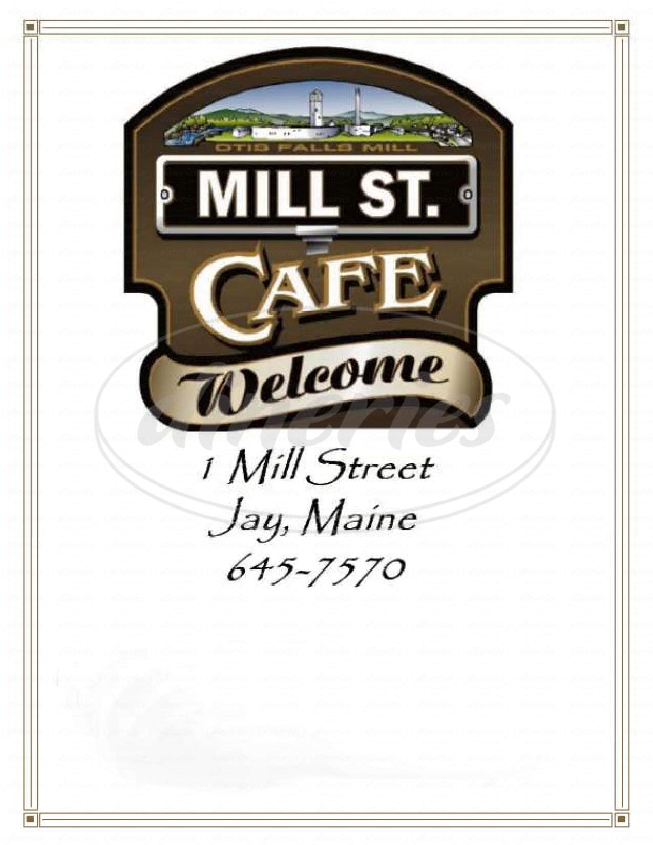menu for Mill St Cafe