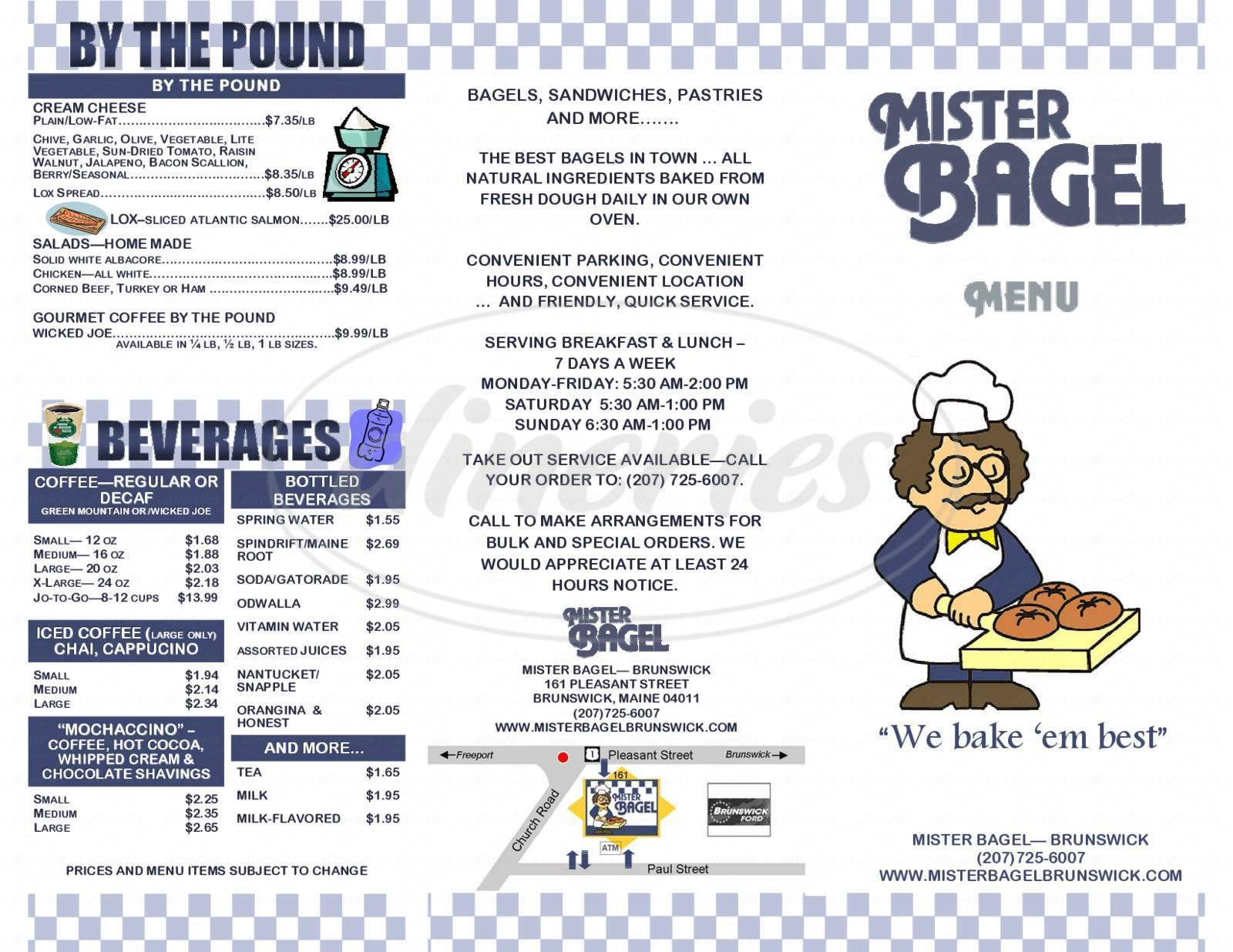 menu for Mister Bagel