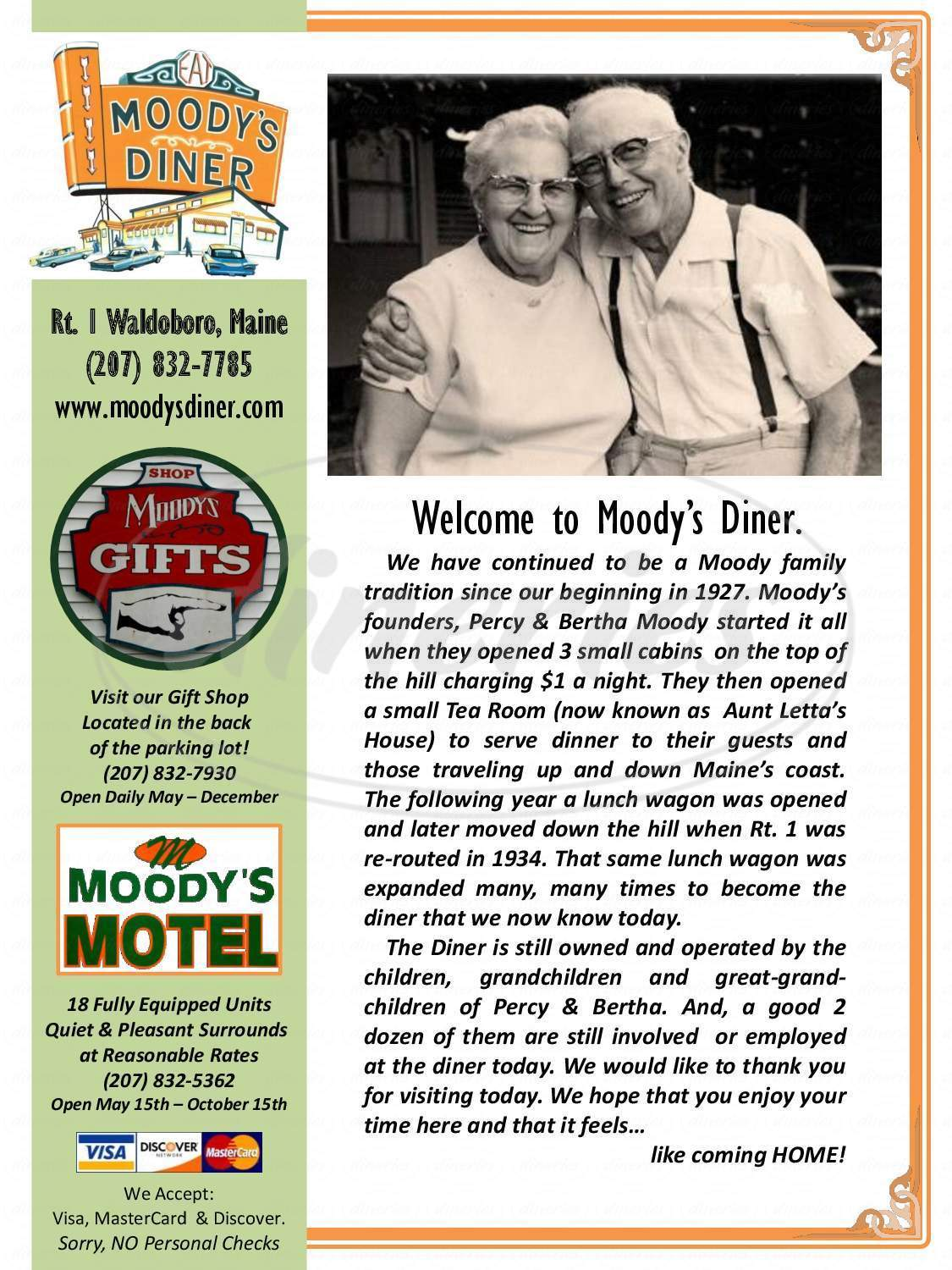 menu for Moody's Diner