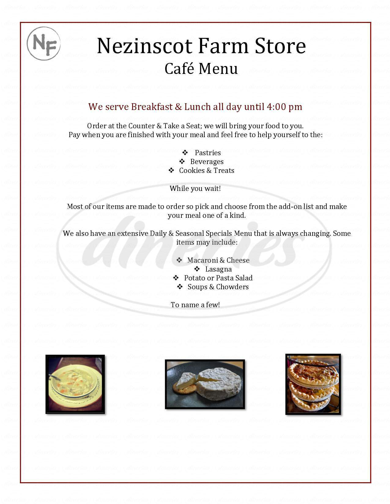 menu for Nezinscot Farm Cafe & Gourmet Food Shop