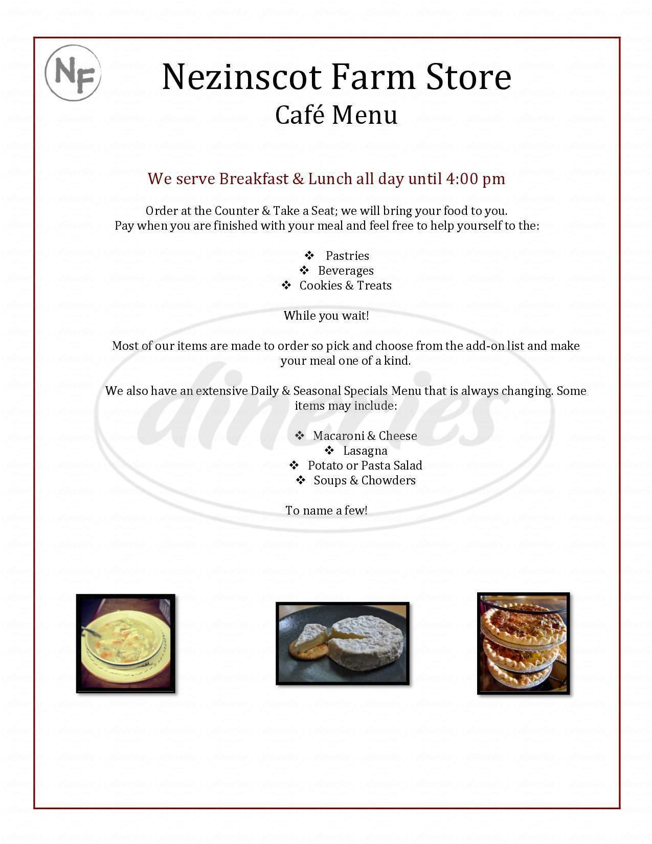 menu for Nezinscot Farm Cafe & Gourmet Food Shop