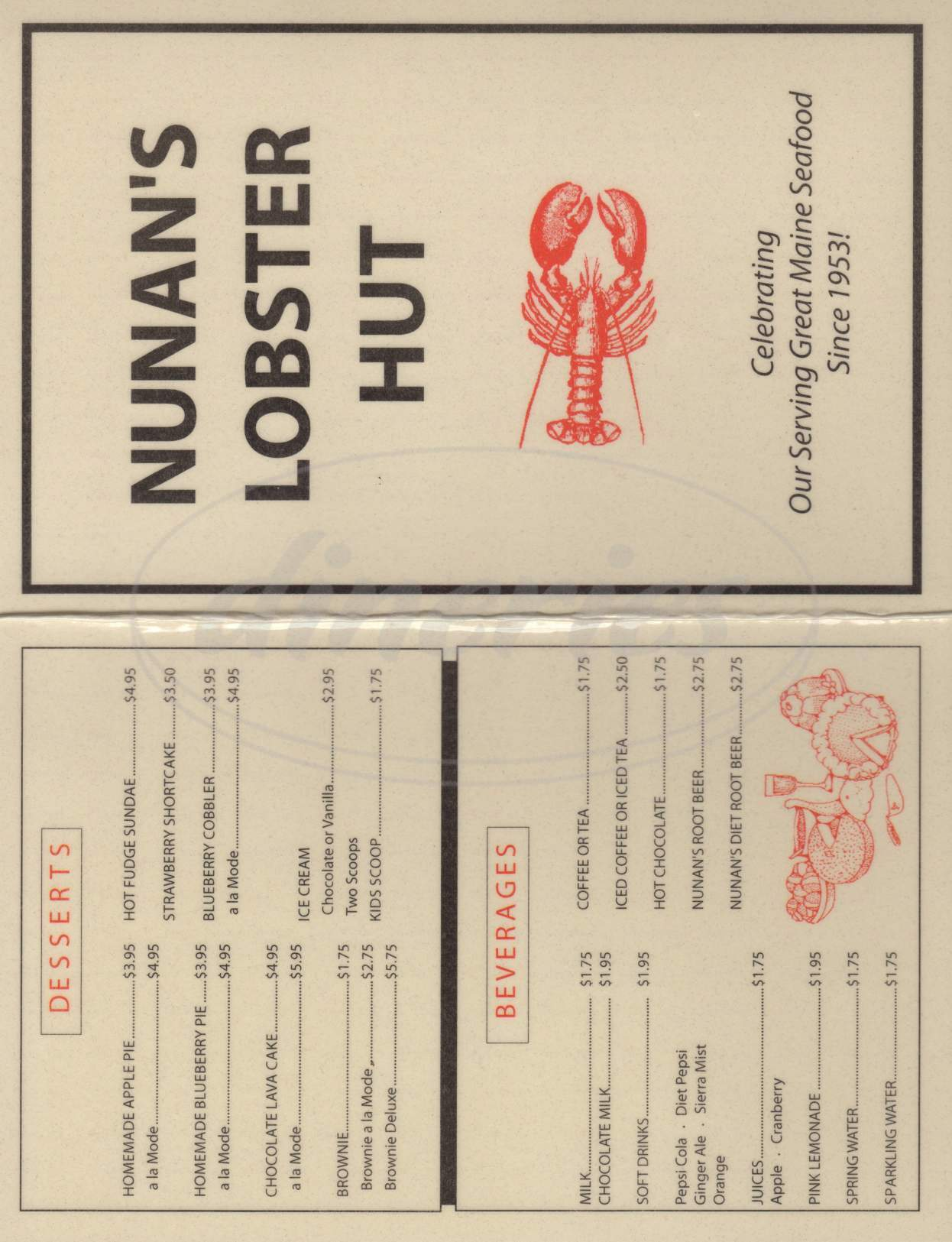 menu for Nunan's Lobster Hut