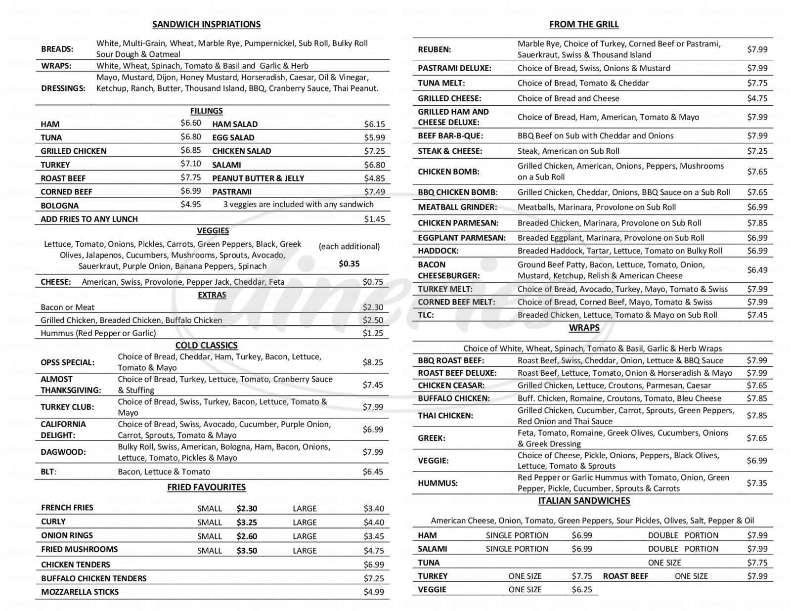 menu for Old Port Sandwich Shop