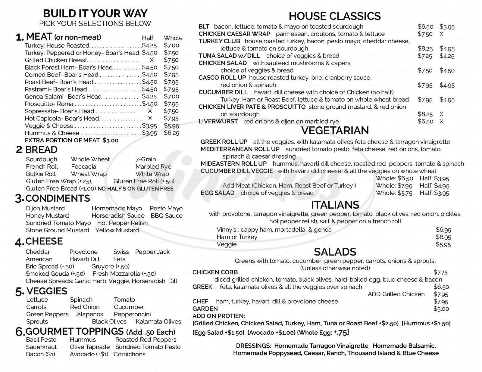 menu for Old World Gourmet Deli & Market