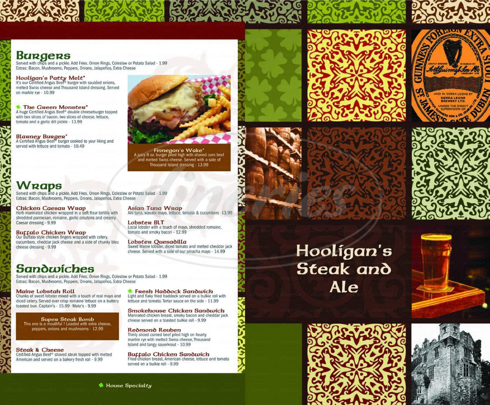 menu for Hooligan's Steak & Ale