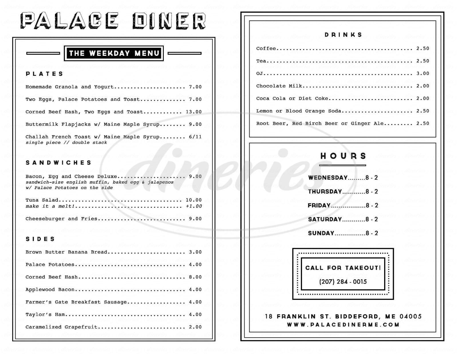 menu for Palace Diner