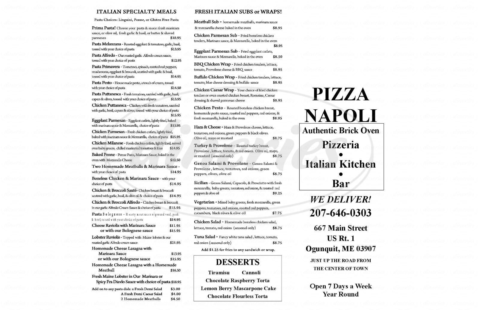 menu for Pizza Napoli