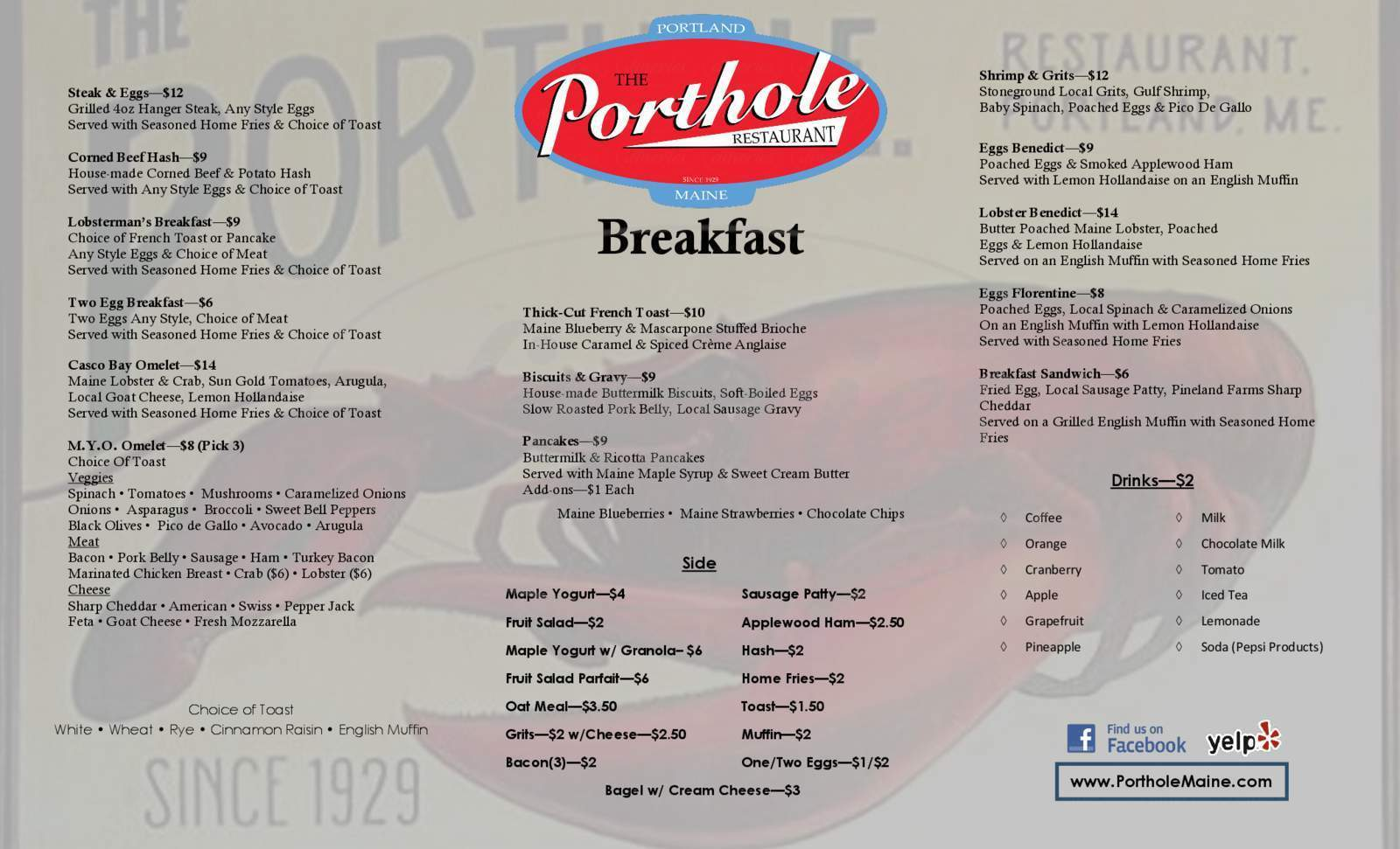 menu for The Porthole Restaurant & Pub