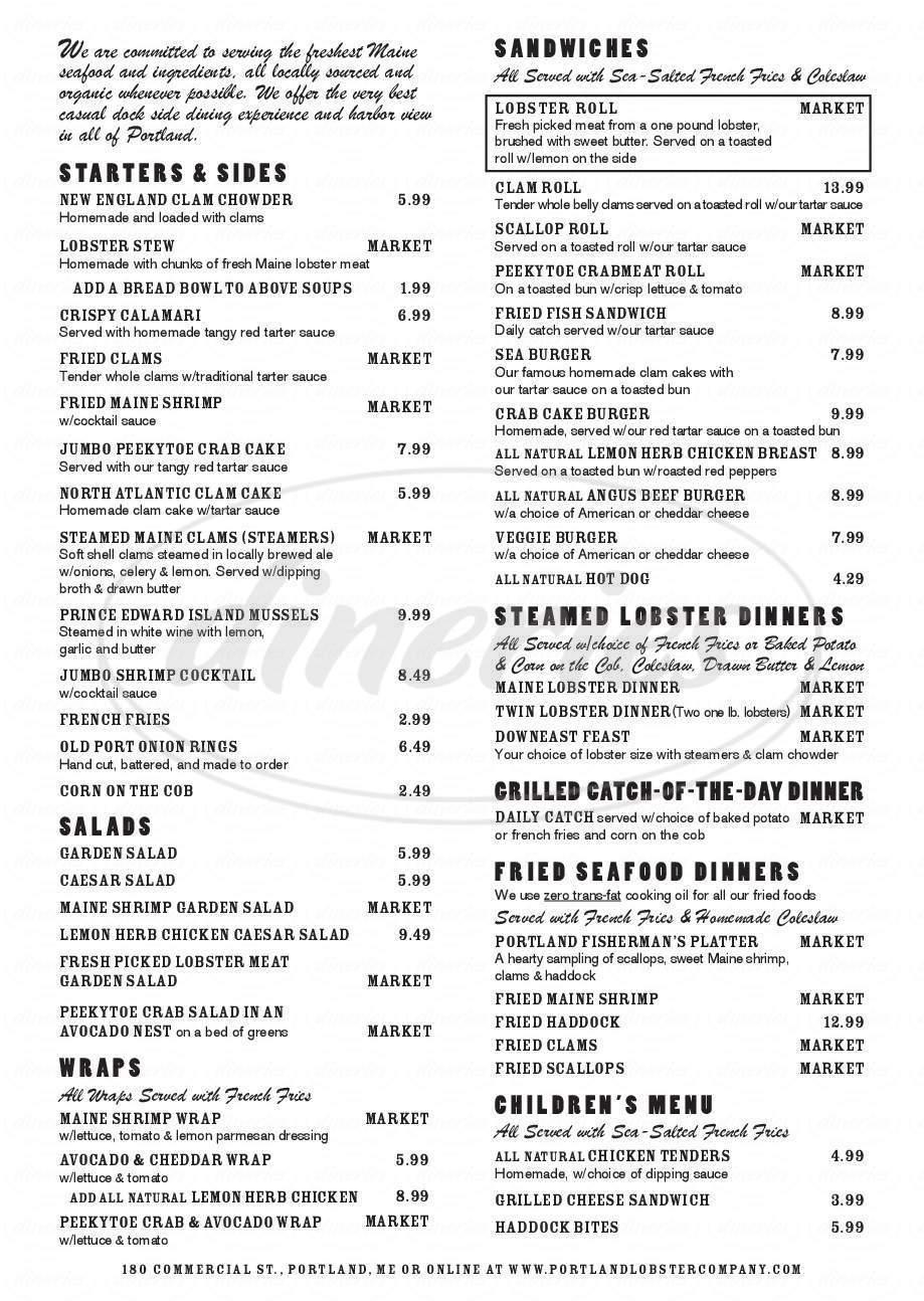 menu for Portland Lobster Co.