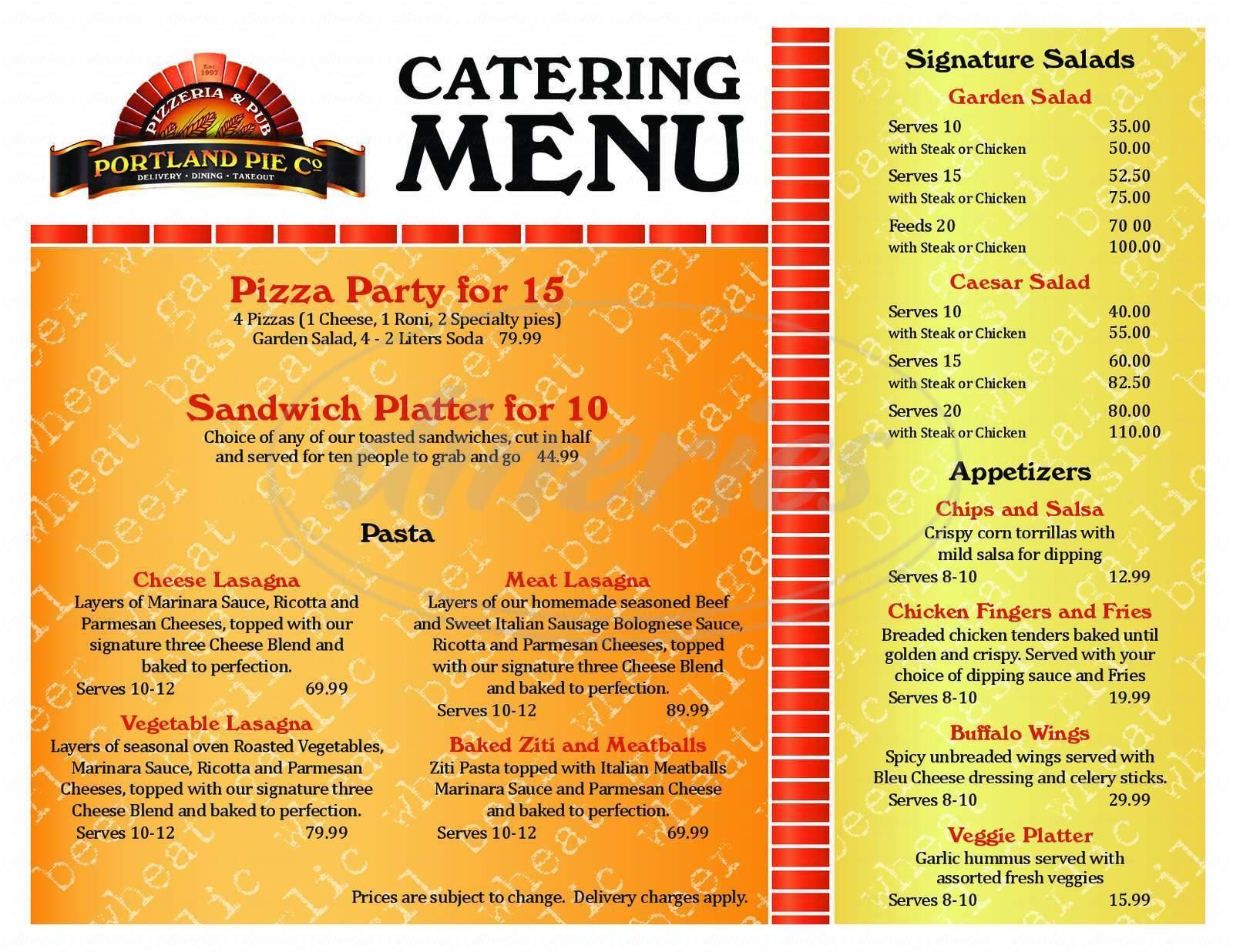 menu for Portland Pie Company