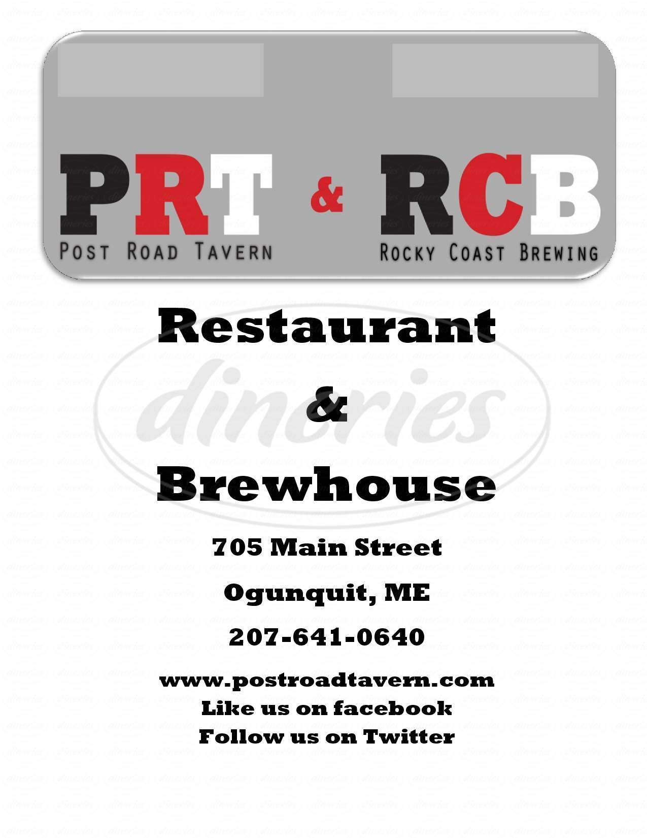 menu for Post Road Tavern