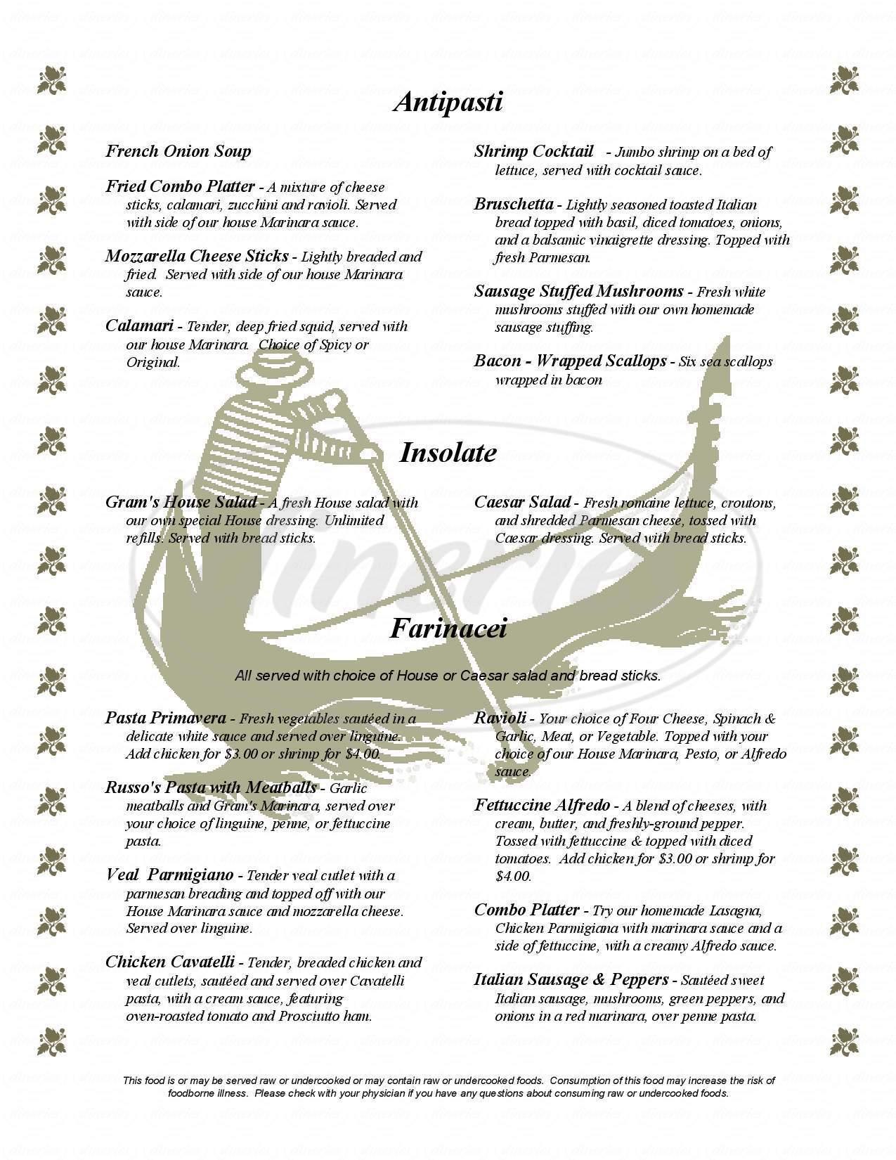 menu for Gram Russos