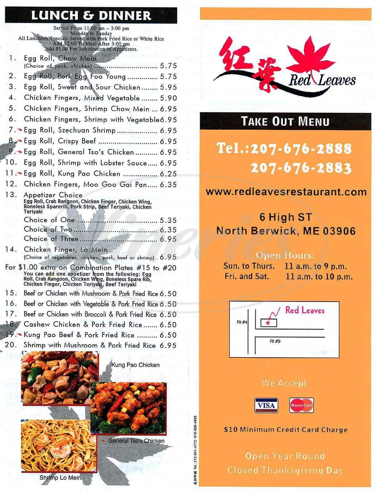 menu for Red Leaves