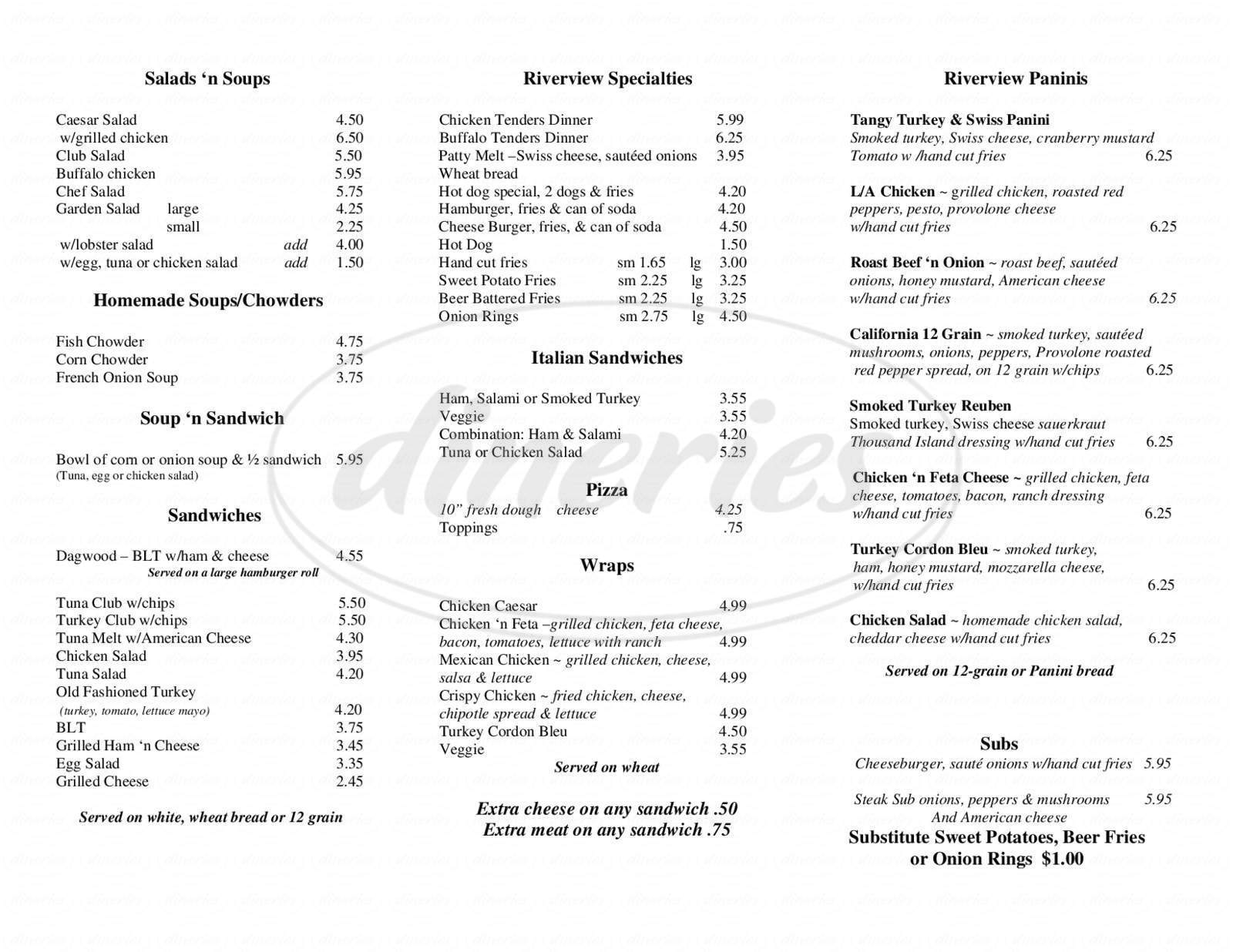 menu for Riverview Market & Cafe