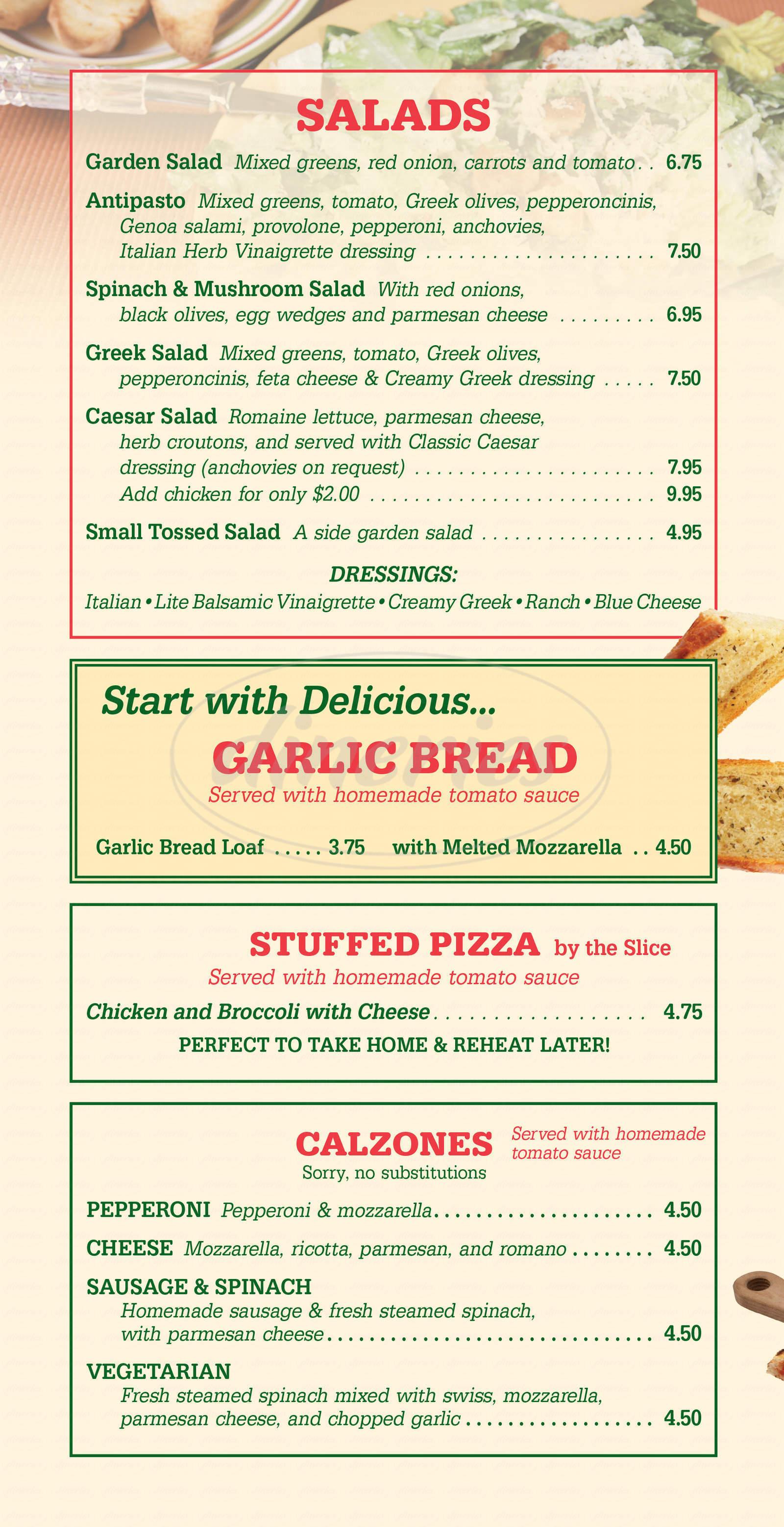 menu for Rosalie's Pizza