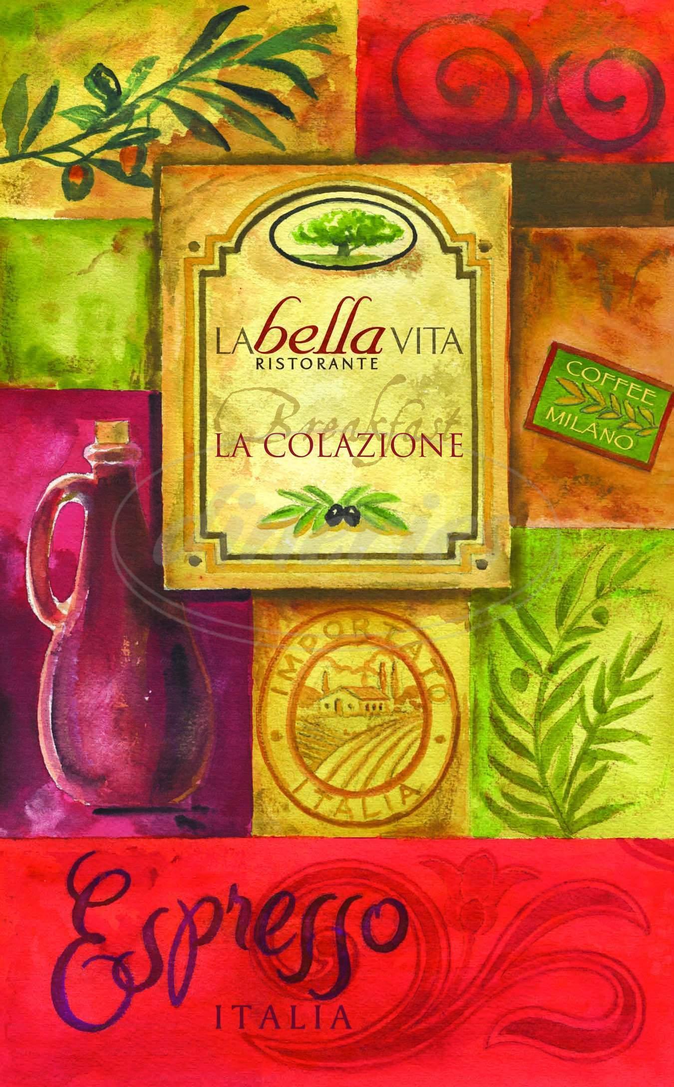 Big menu for La Bella Vita, Rockport