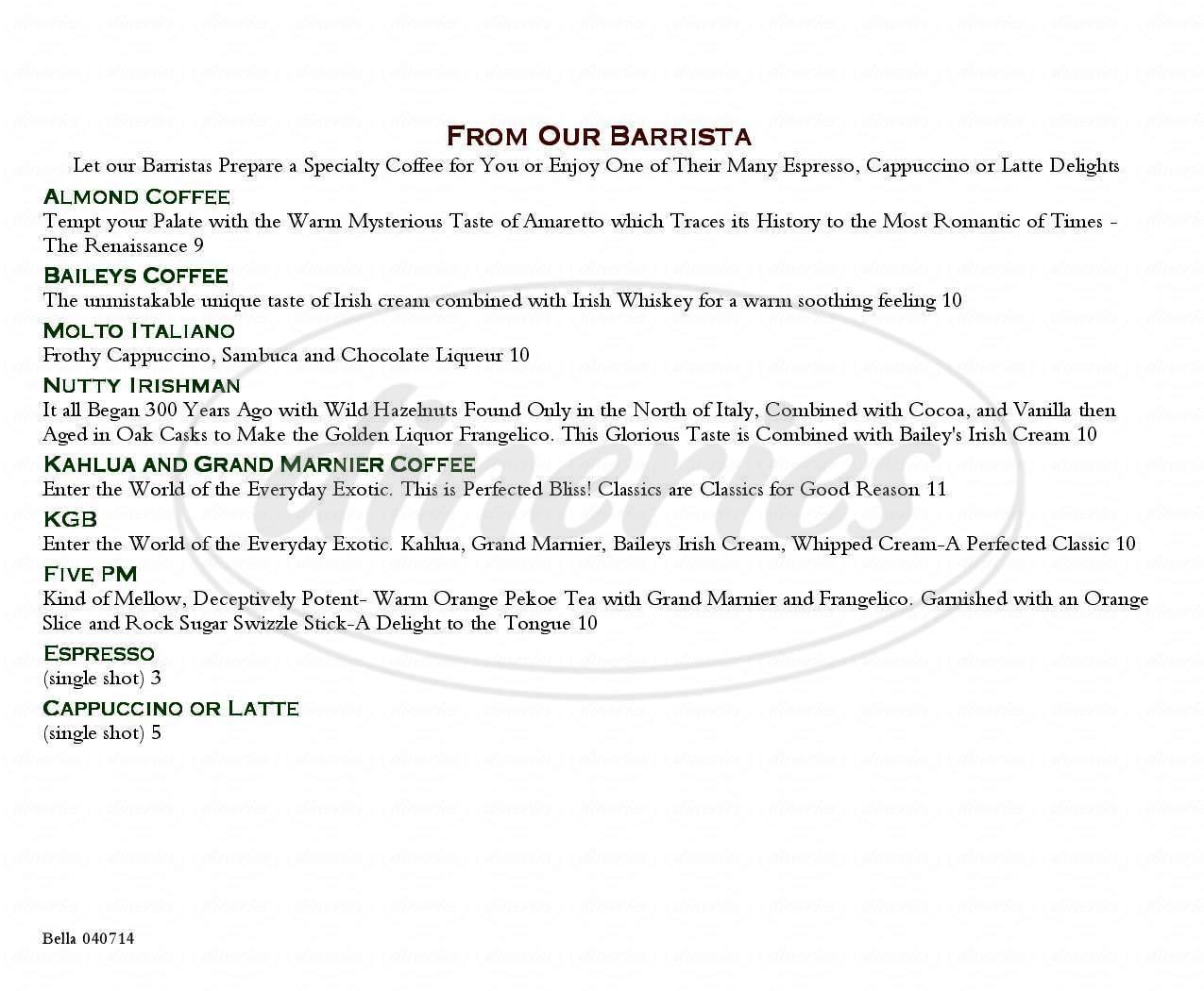 menu for La Bella Vita