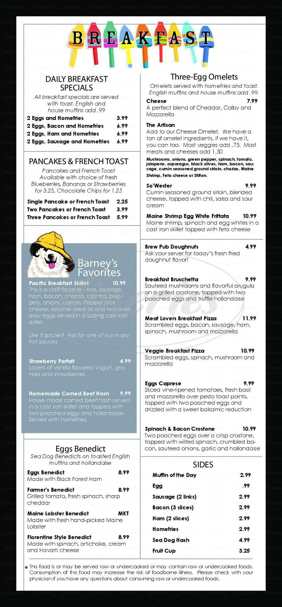 menu for Sea Dog Brewing Co