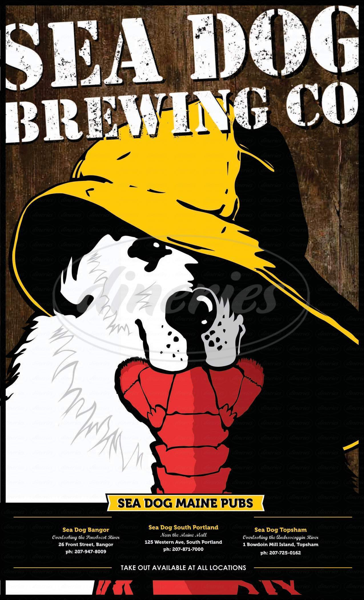 menu for Sea Dog Brewing Company