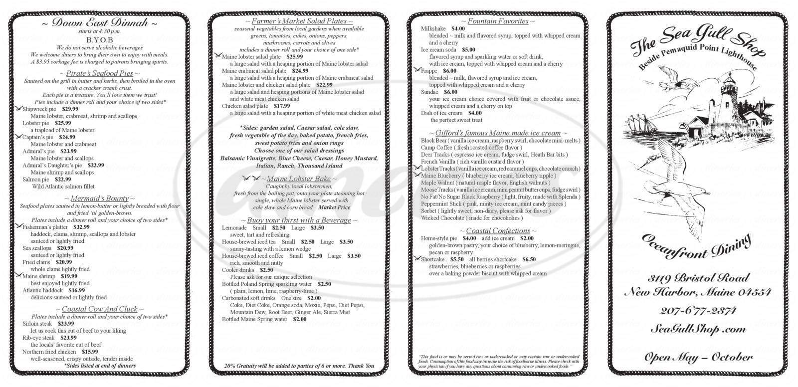 menu for Sea Gull Restaurant & Gift Shop