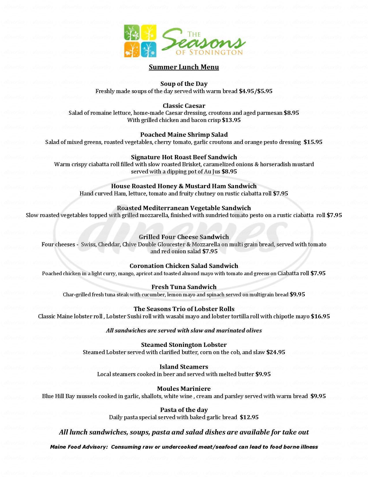 menu for The Seasons of Stonington