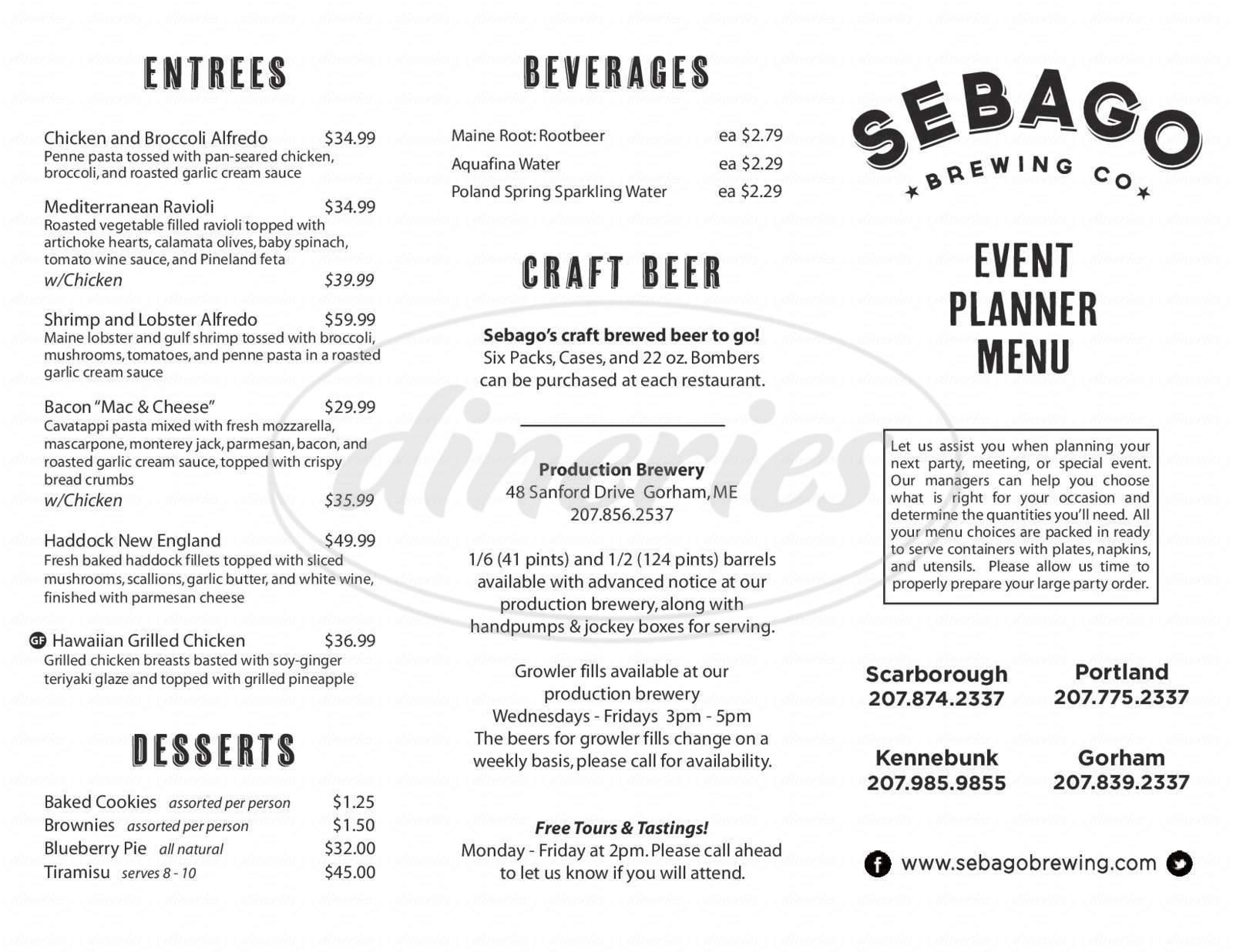 menu for Sebago Brewing Company