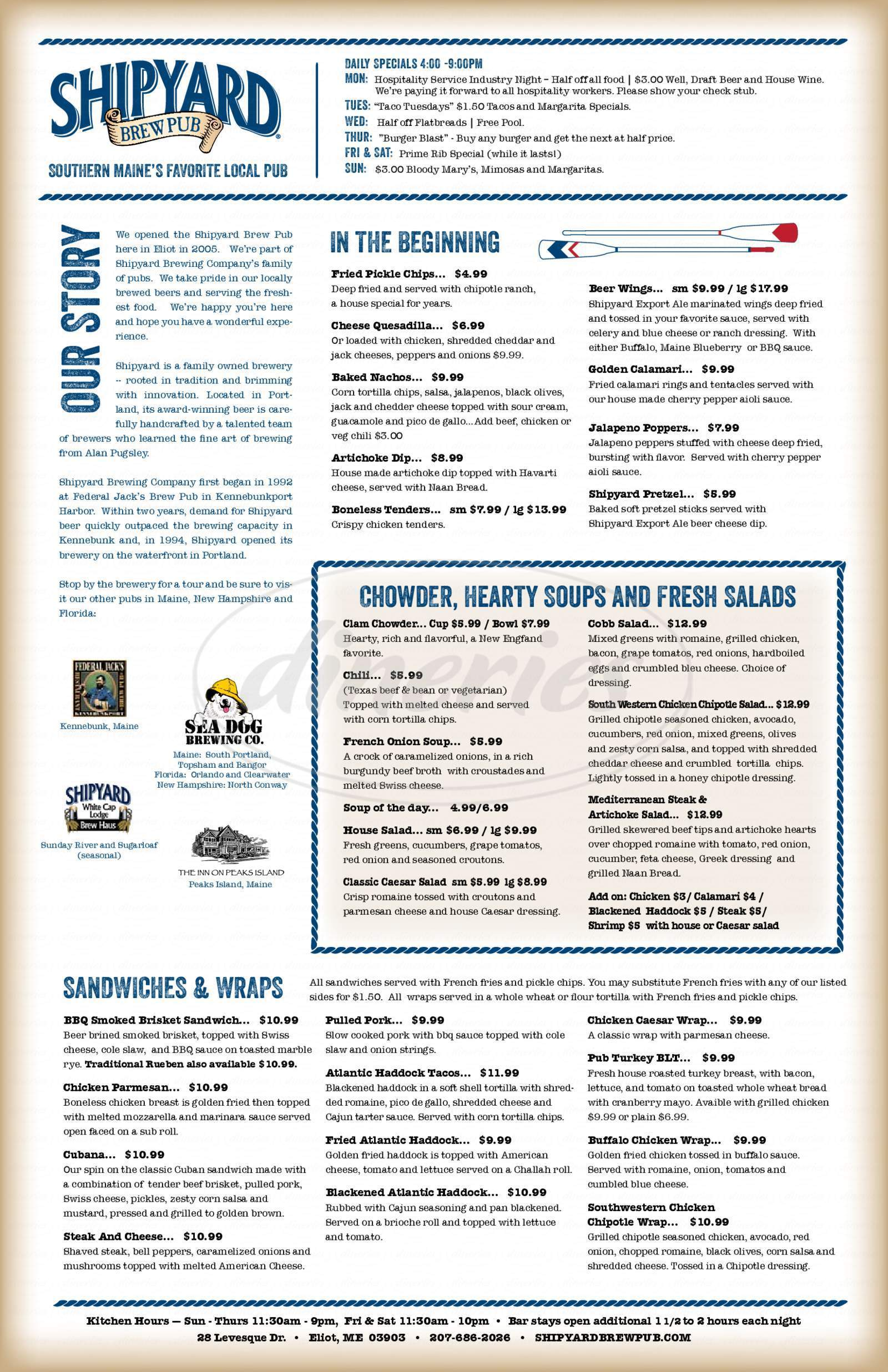menu for Shipyard Brew Pub