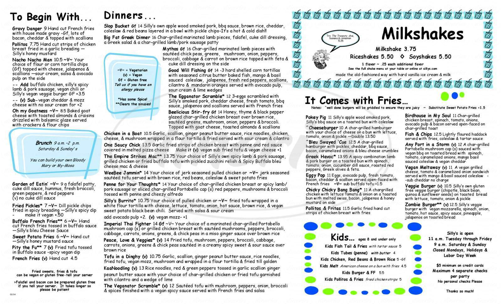 menu for Silly's