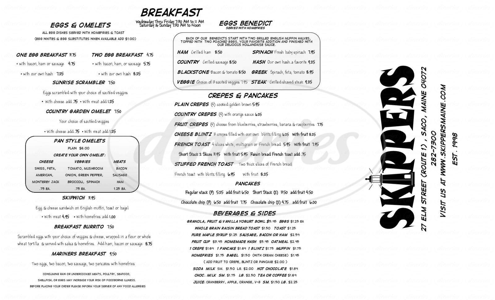 menu for Skippers Seafood & Rotisserie