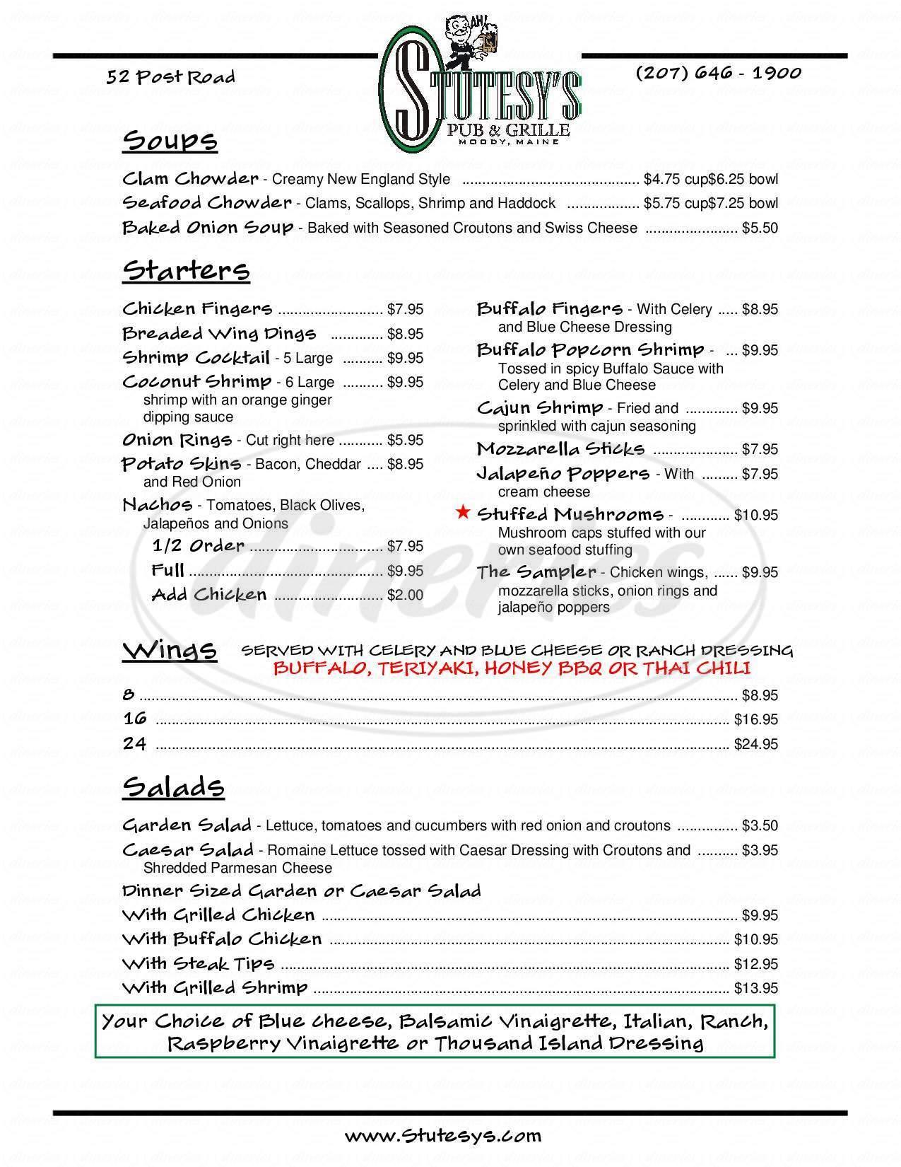 menu for Stutesy's Pub & Grill