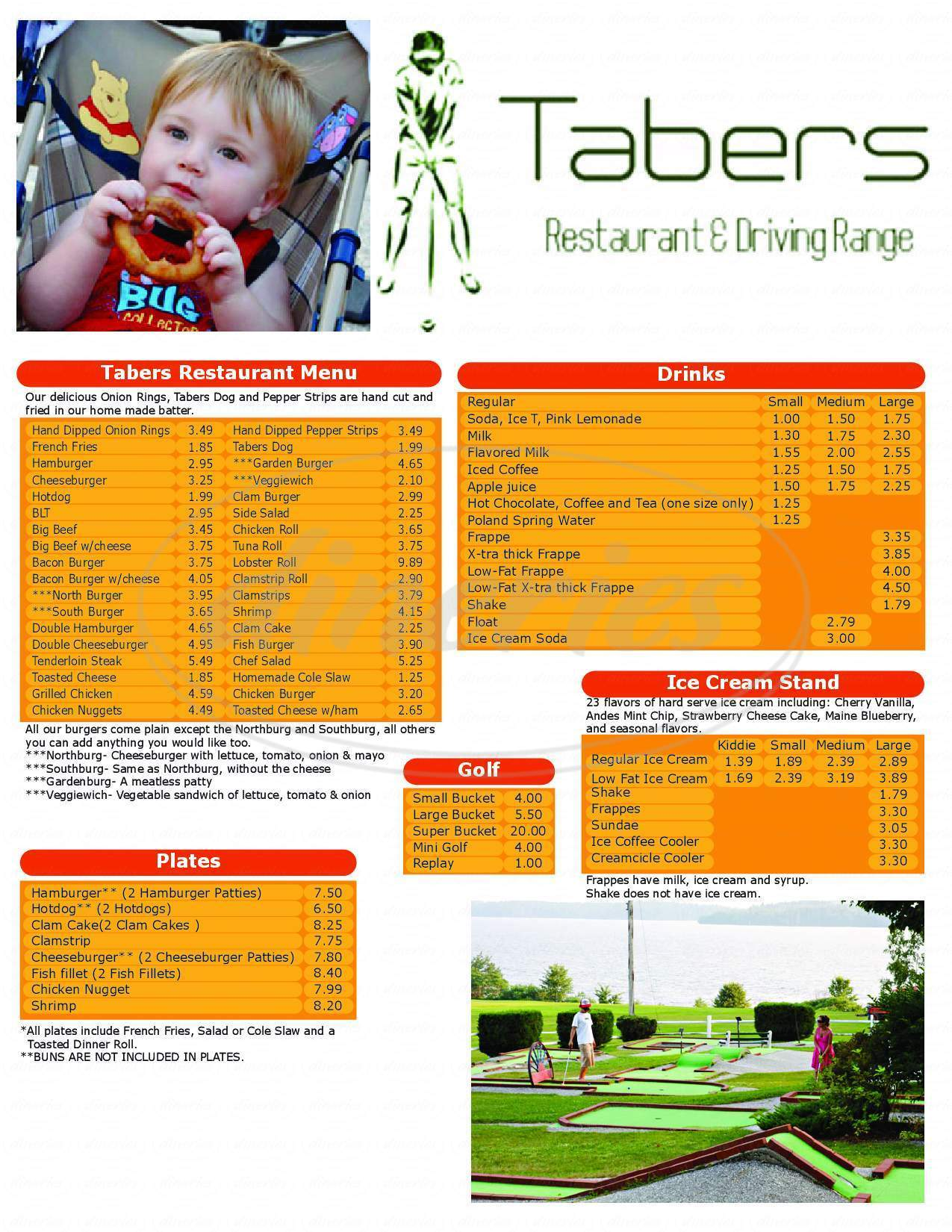 menu for Taber's Lakeside Stand