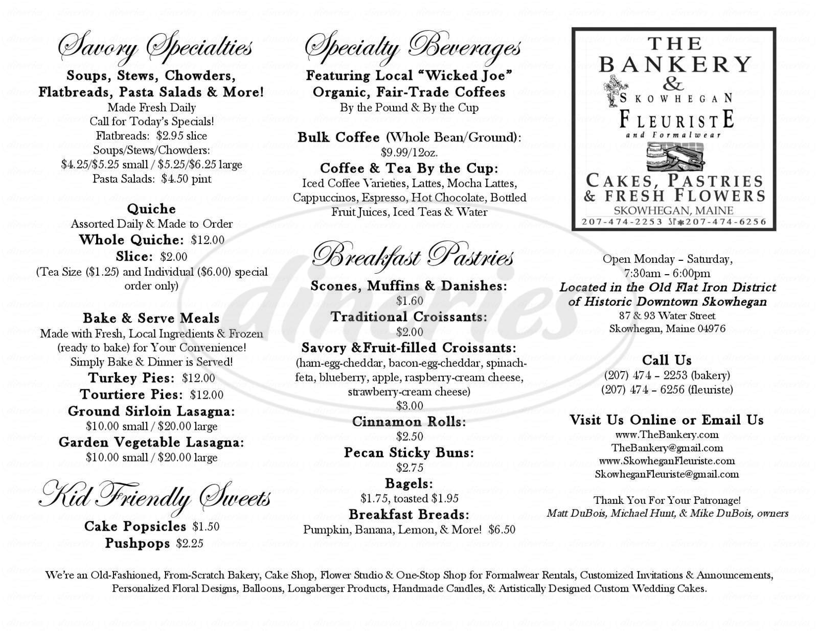 menu for The Bankery