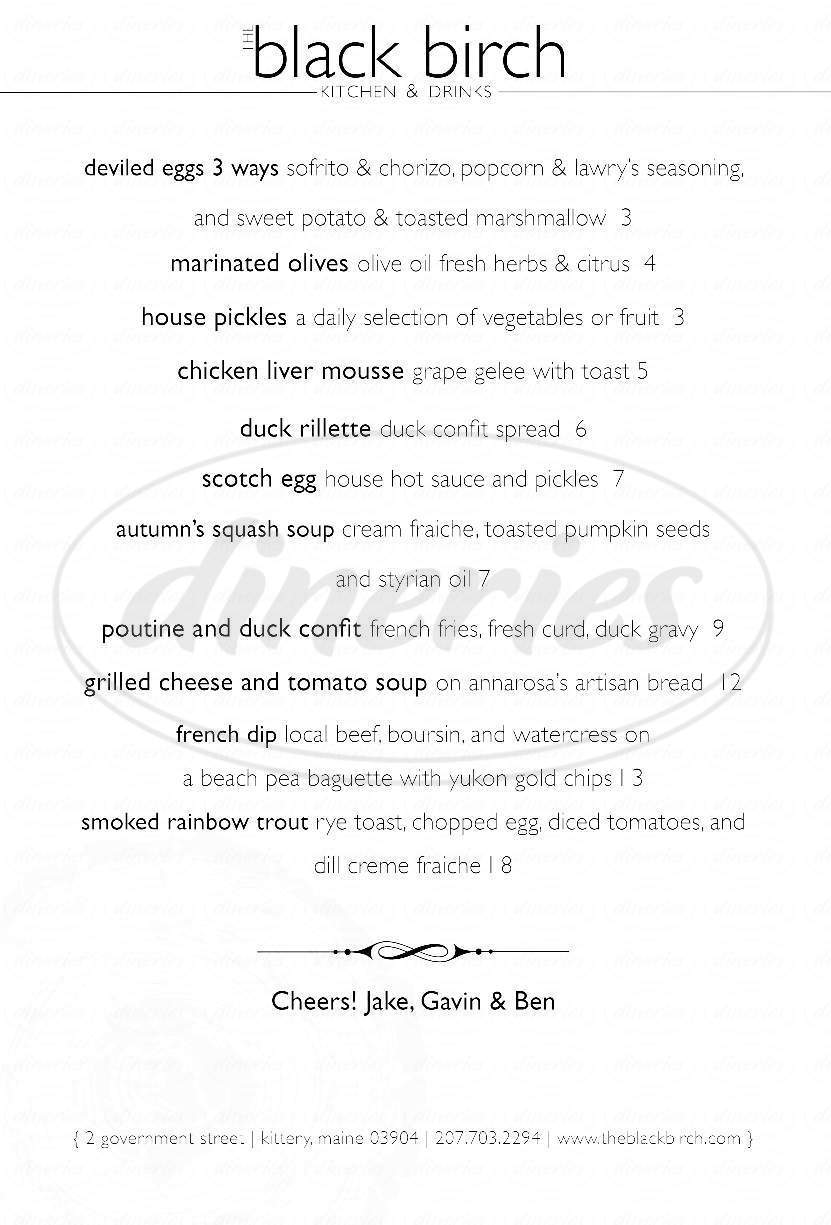 menu for The Black Birch