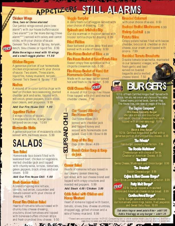 menu for Firehouse Grille