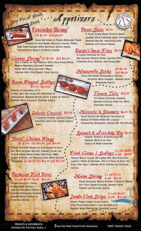 menu for The Galley Restaurant & Pub
