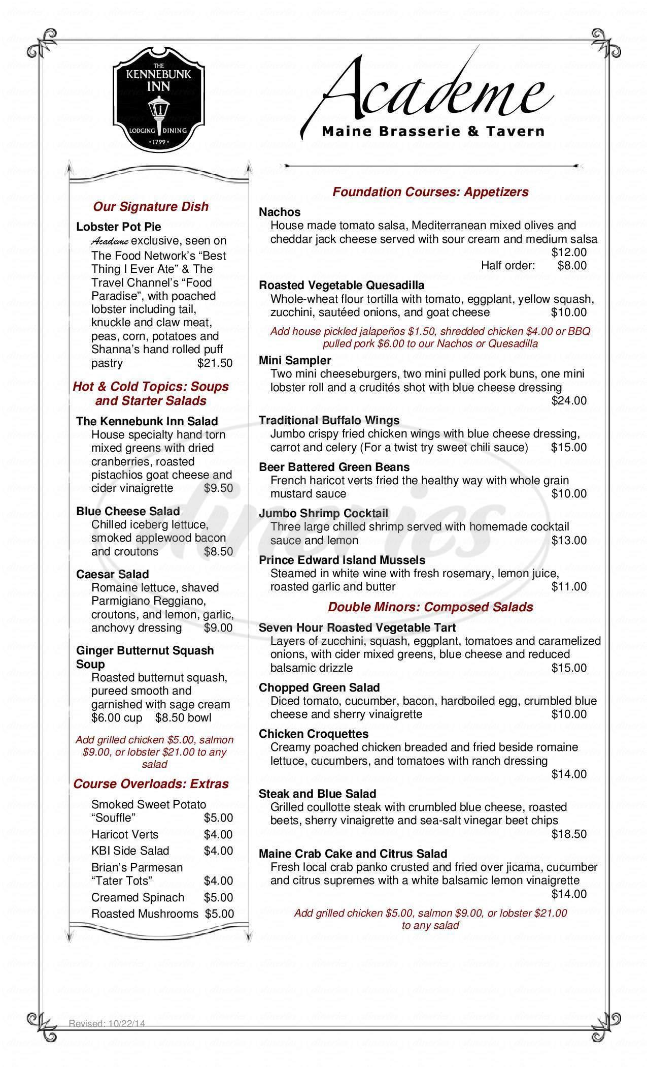 menu for Academe