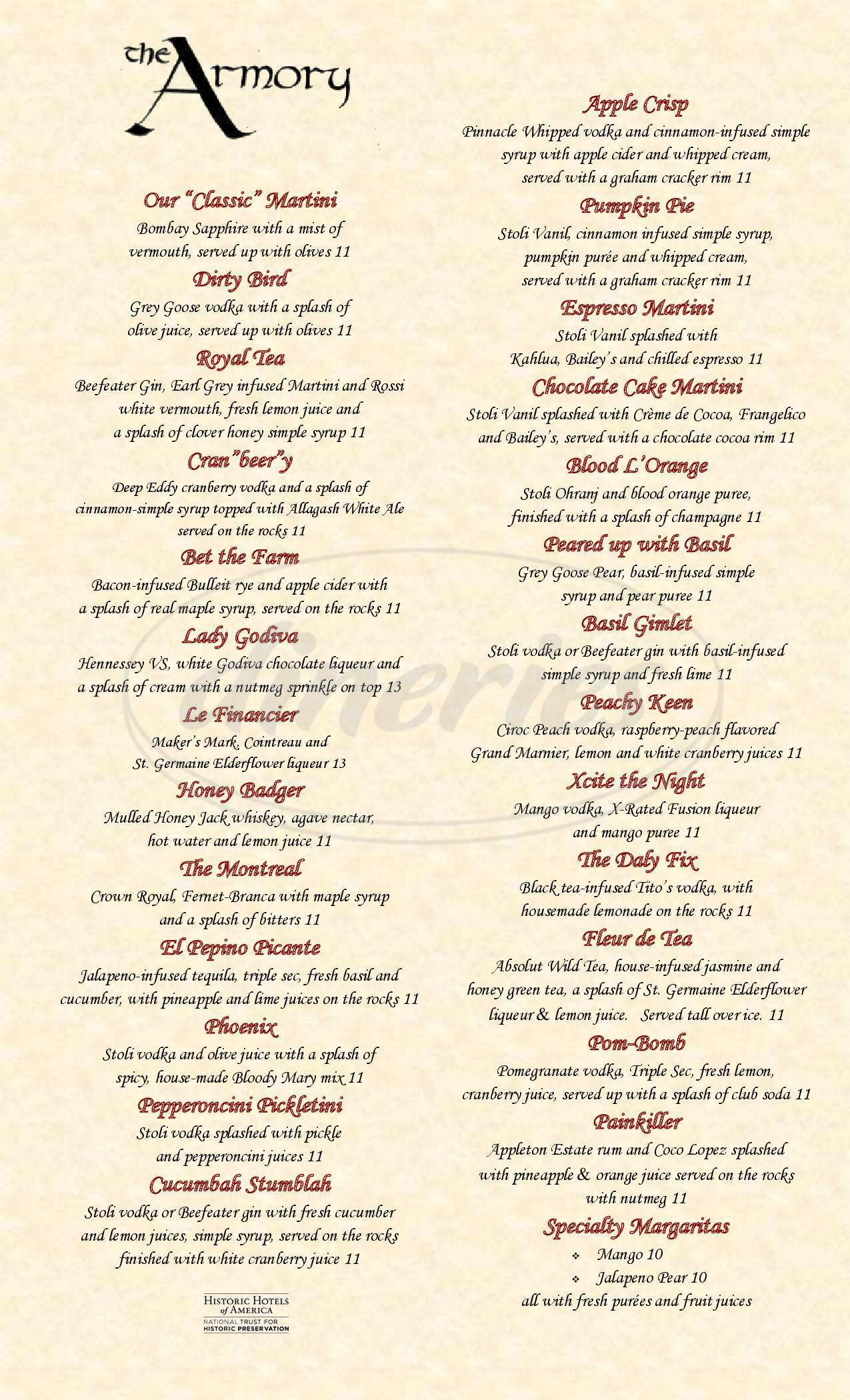 menu for The Armory Lounge