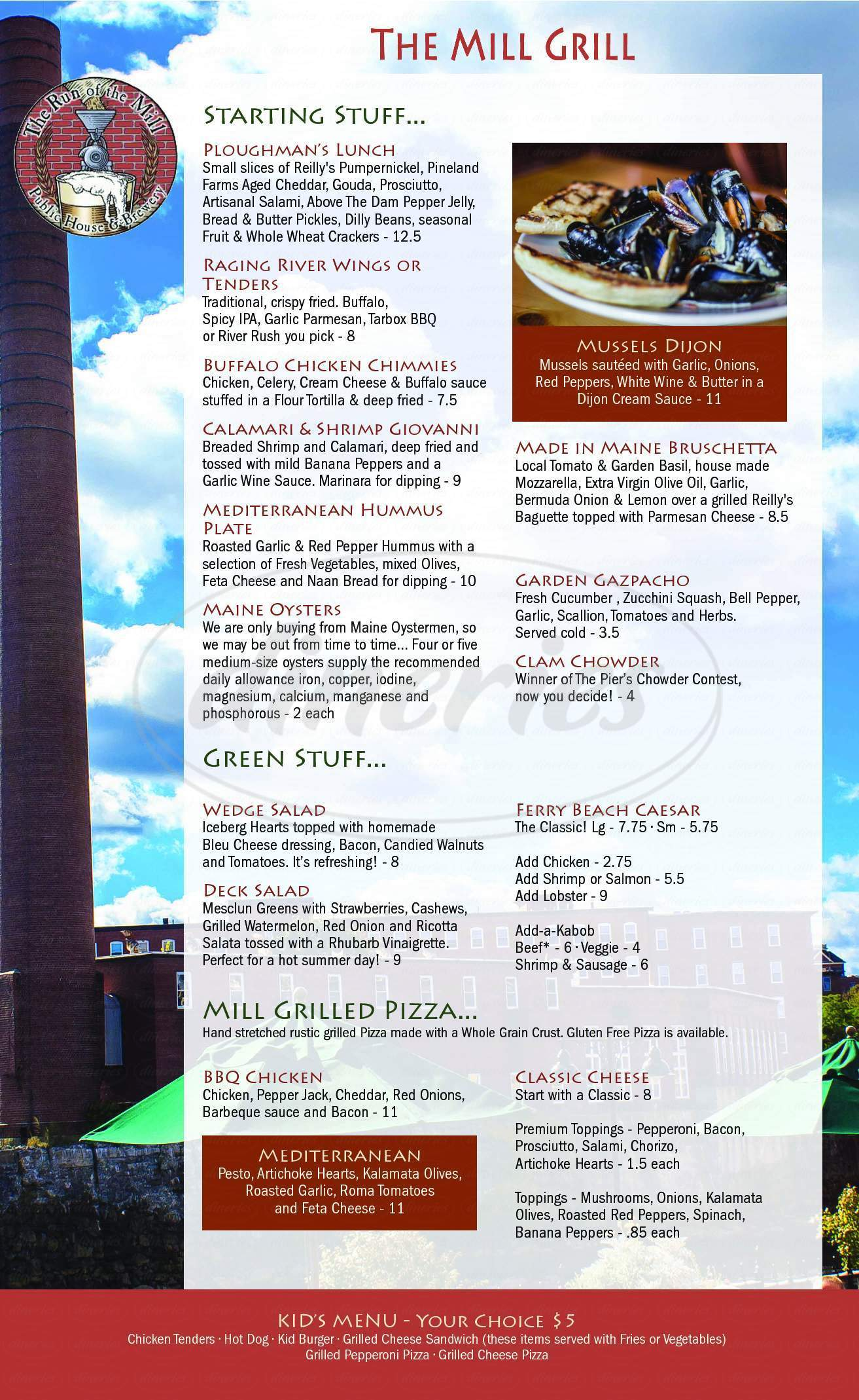 menu for Run of the Mill Public House & Brewery
