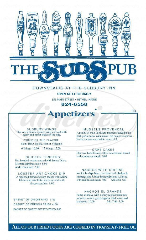 menu for Sudbury Inn