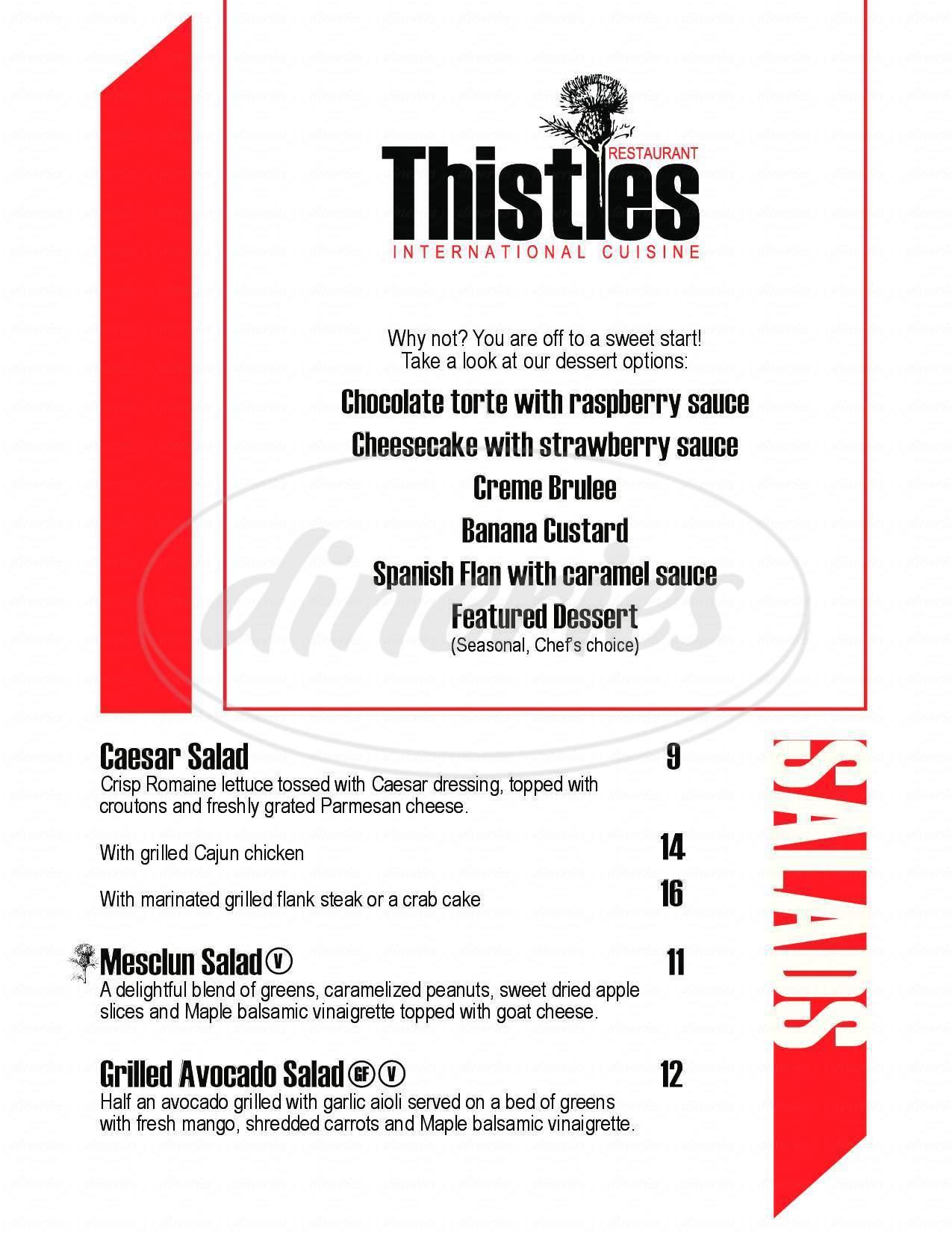 menu for Thistle's Restaurant