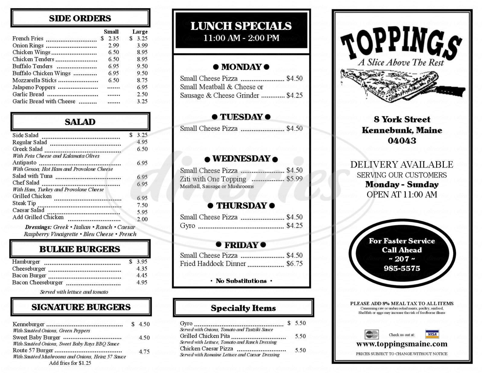 menu for Toppings