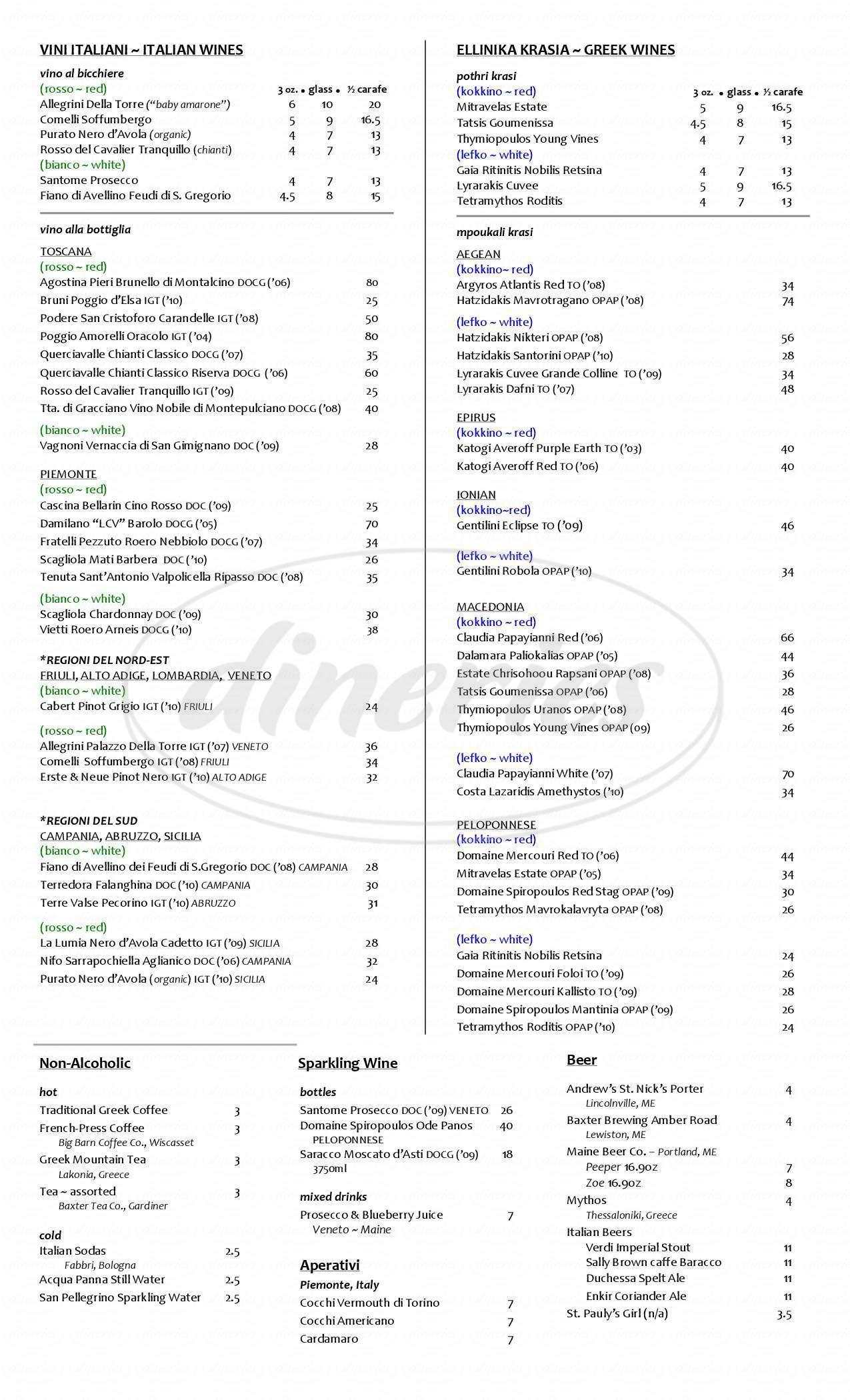 menu for Trattoria Athena